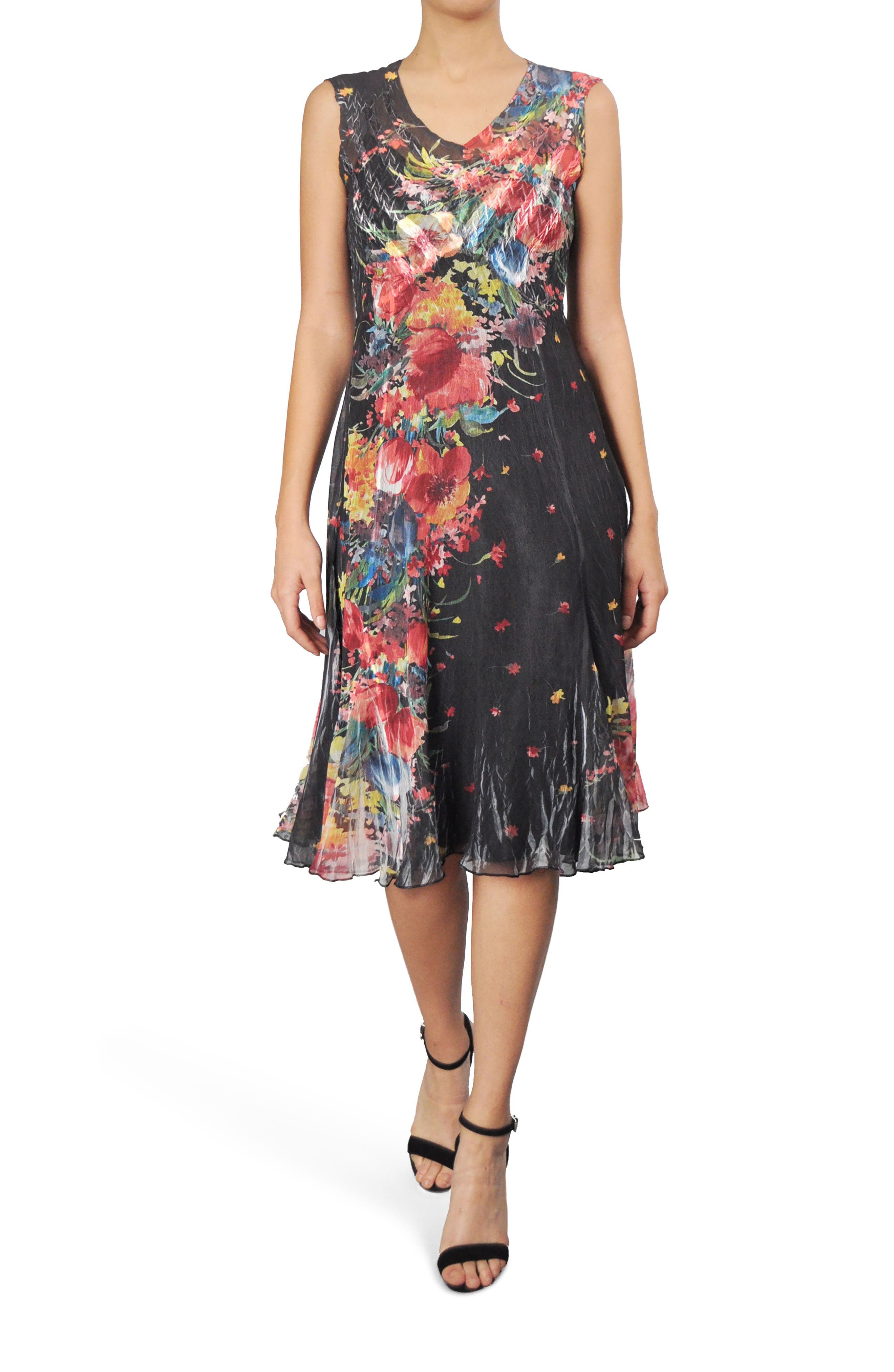 Floral Chiffon A-Line Dress,                             Main thumbnail 1, color,                             Tiger Lily