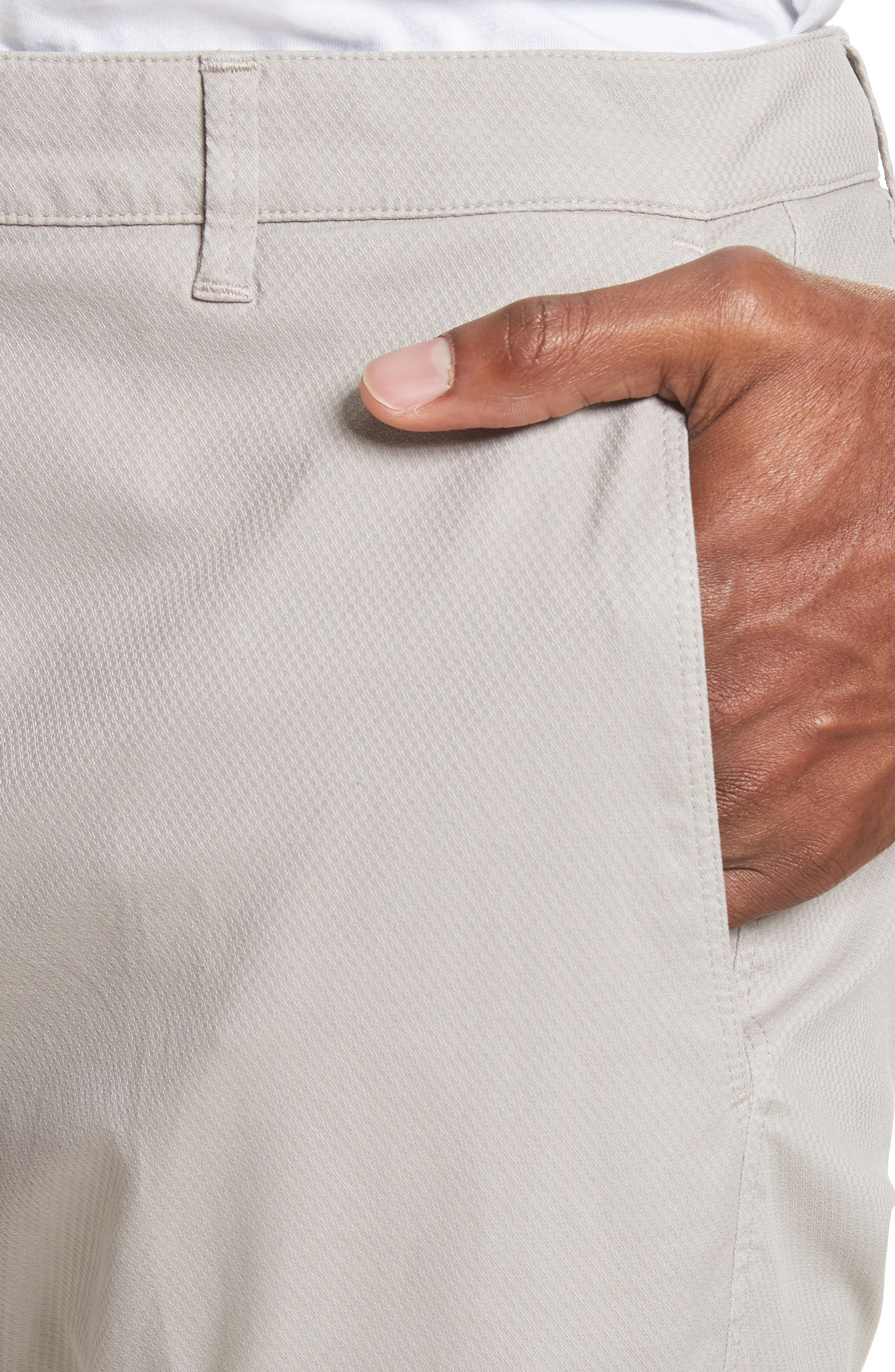 Flat Front Stretch Solid Cotton Trousers,                             Alternate thumbnail 4, color,                             Stone