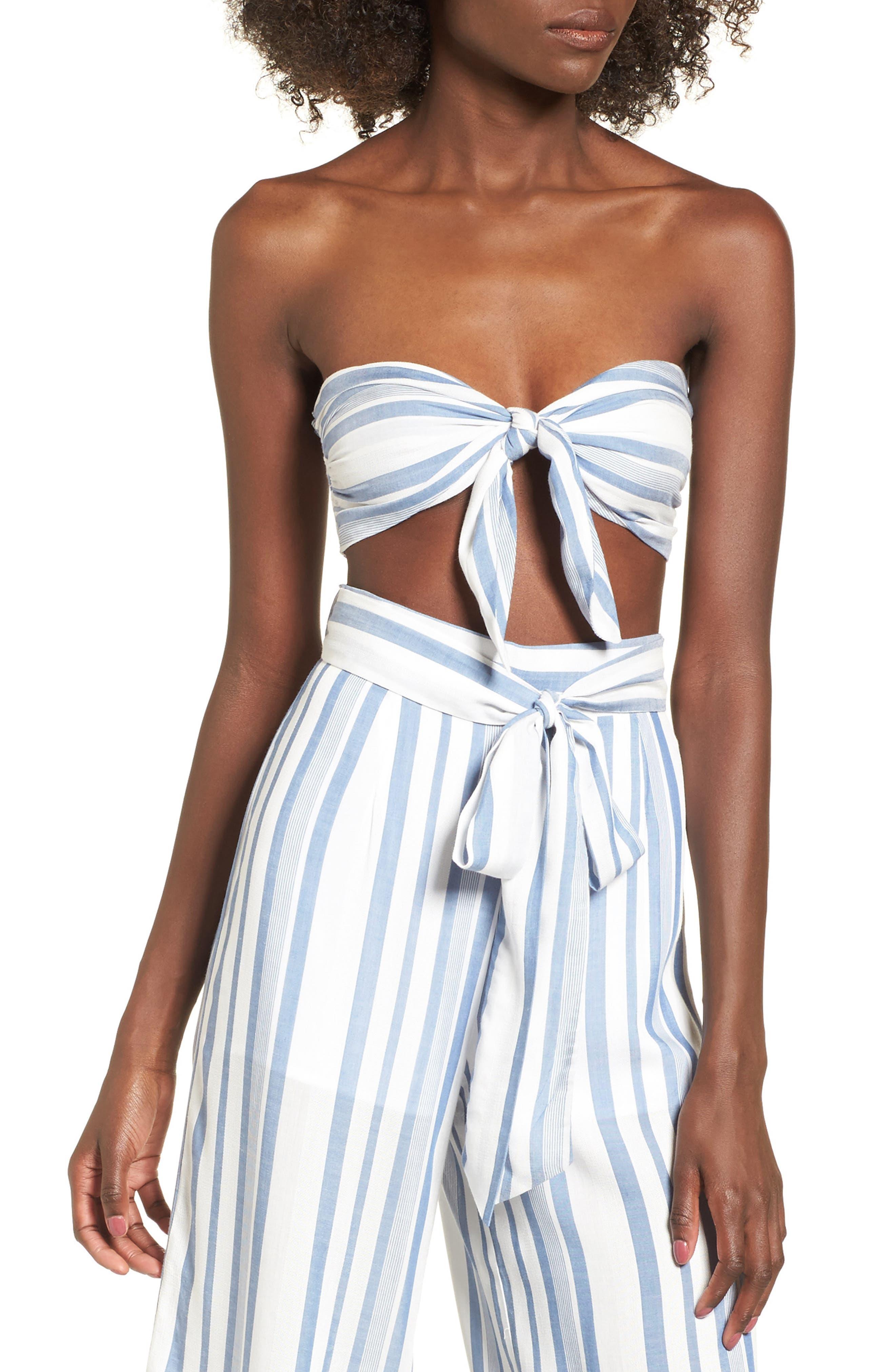 Marina Bandeau Top,                         Main,                         color, White/ Blue