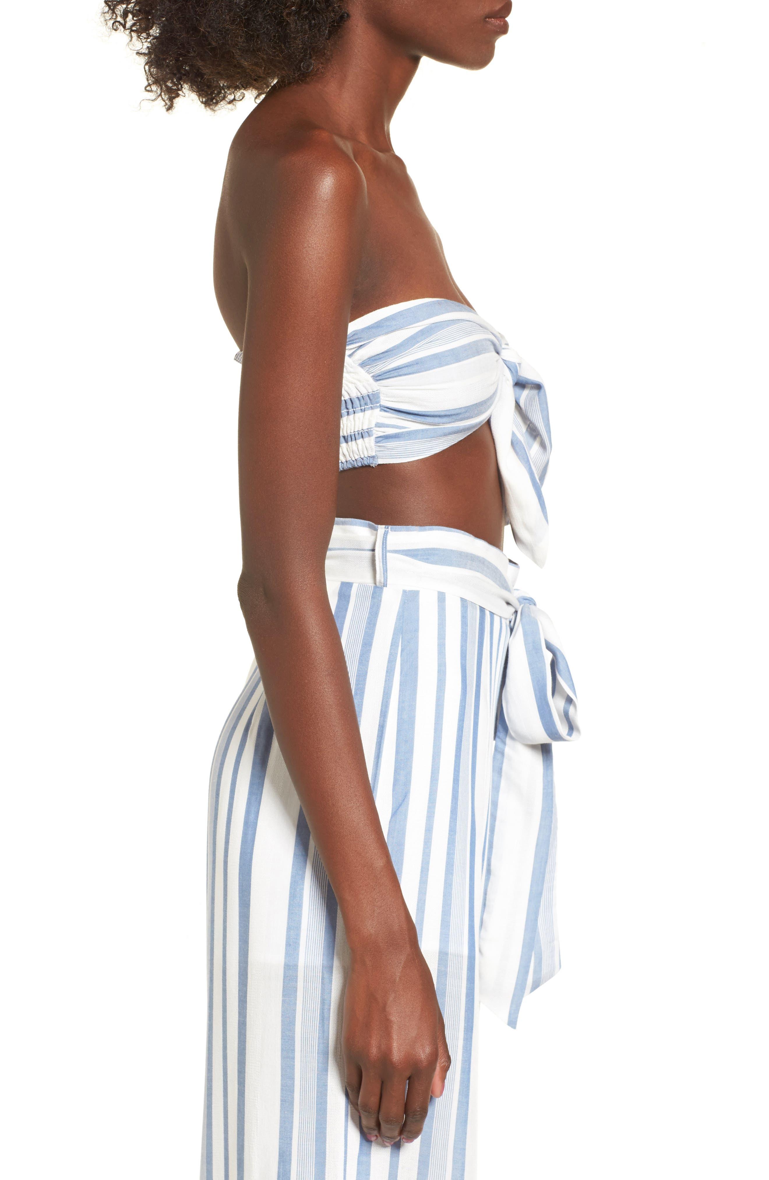 Marina Bandeau Top,                             Alternate thumbnail 4, color,                             White/ Blue