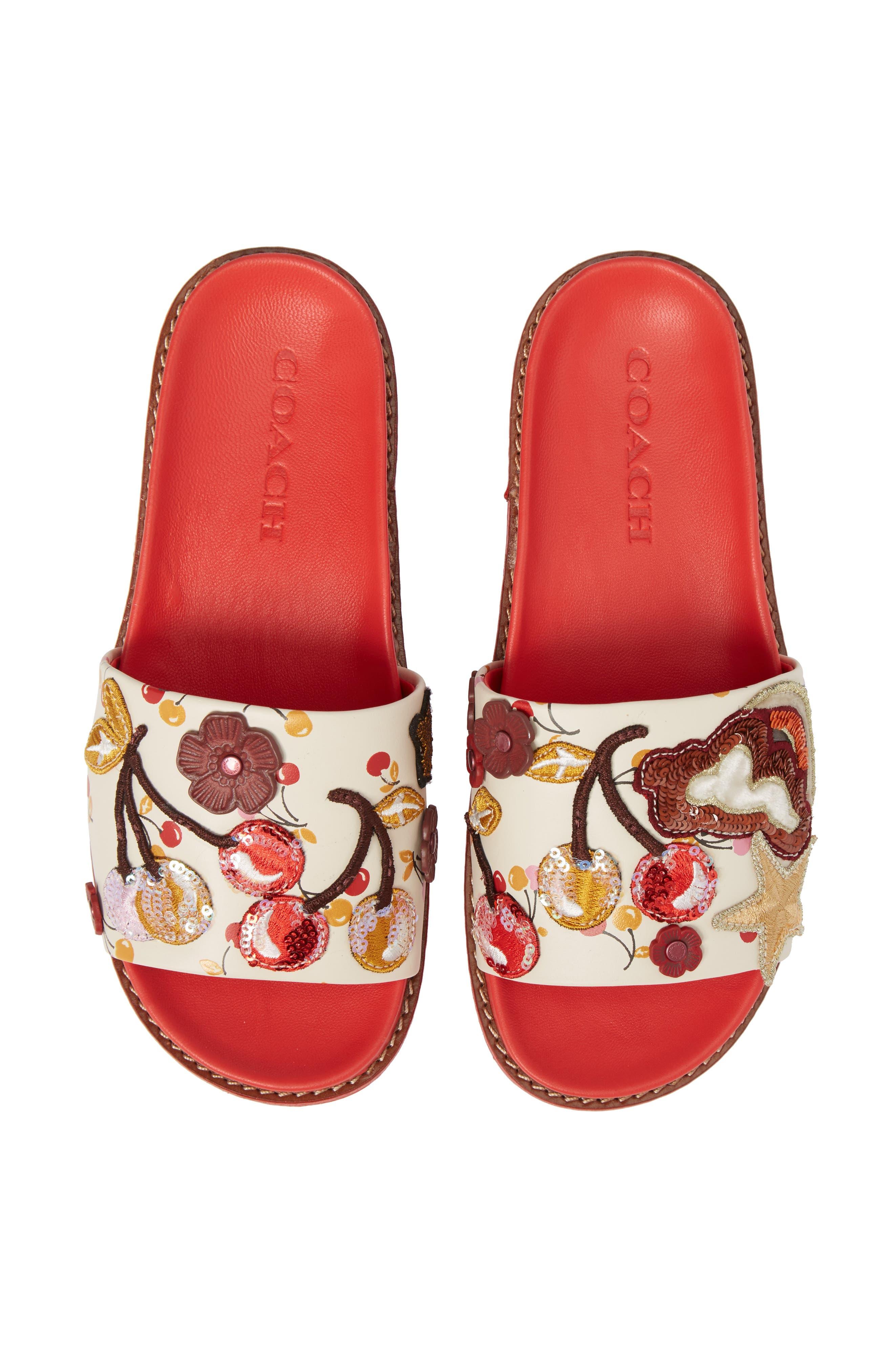 Patch Sport Slide Sandal,                             Alternate thumbnail 5, color,                             Ivory/ Red Leather