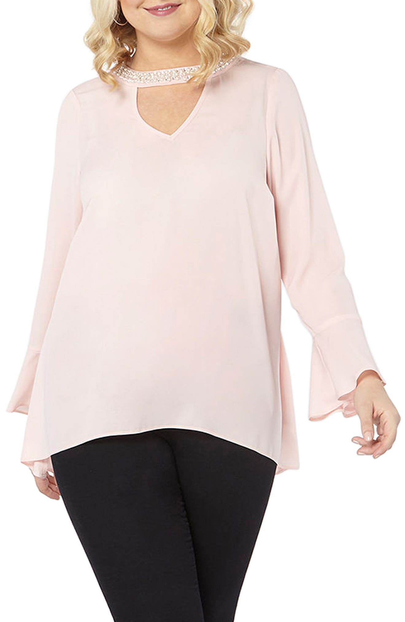 Bell Sleeve Pearly Choker Neck Top,                         Main,                         color, Pink