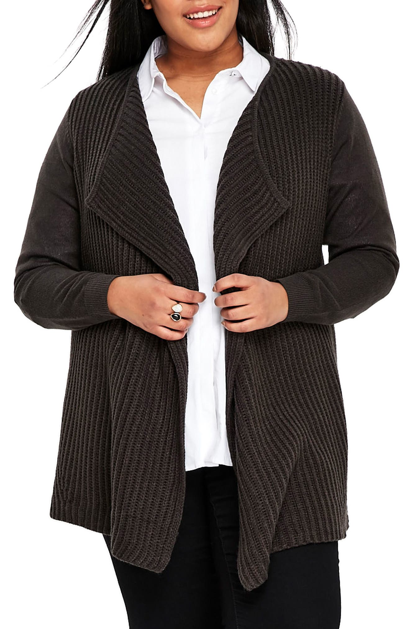 Main Image - Evans Ribbed Waterfall Cardigan (Plus Size)