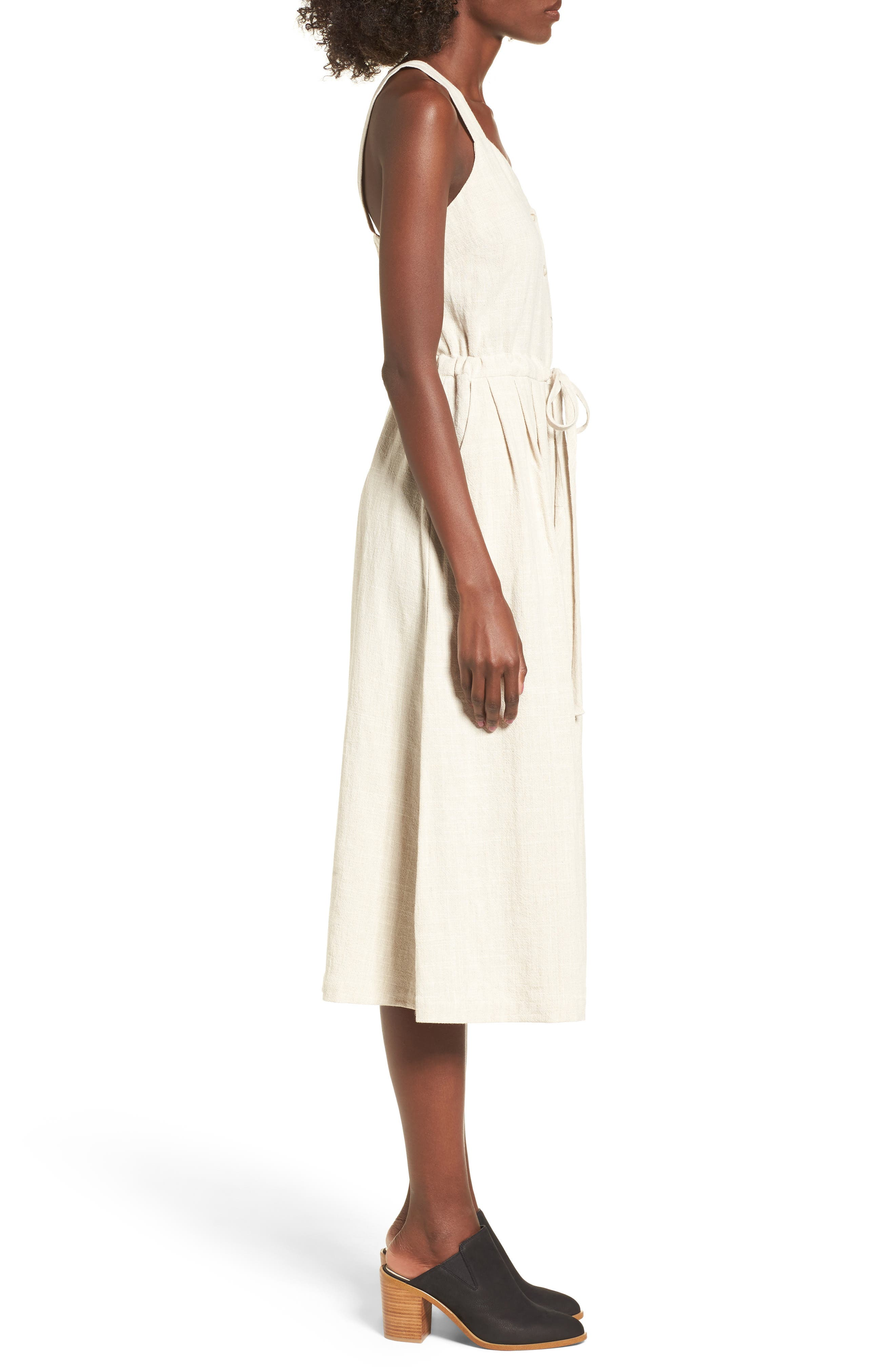 Button Up Drawstring Midi Dress,                             Alternate thumbnail 4, color,                             Natural