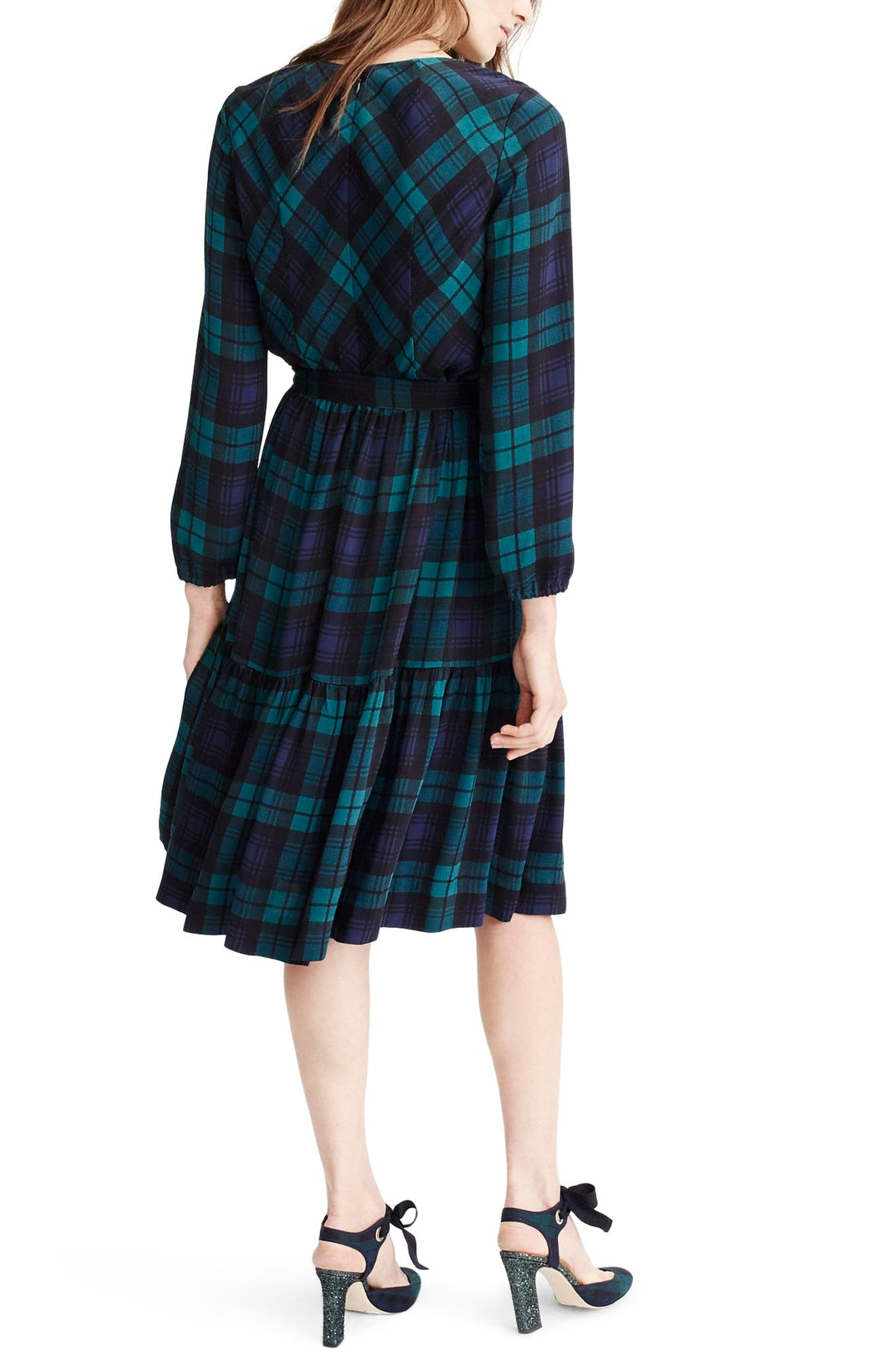 J.Crew Drapey Dress in Black Watch Plaid,                             Alternate thumbnail 2, color,                             Blue/ Green