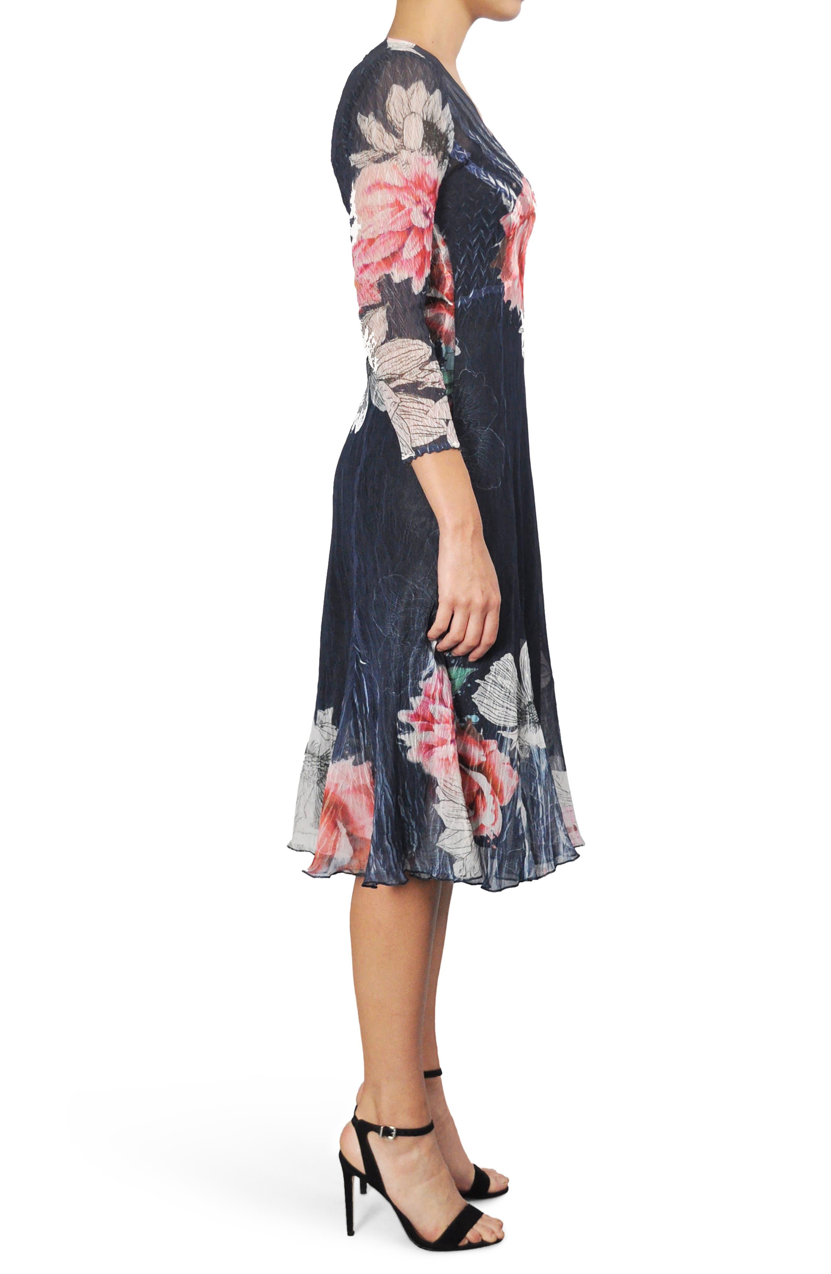 Floral Print Chiffon A-Line Dress,                             Alternate thumbnail 3, color,                             Watercolor Fields