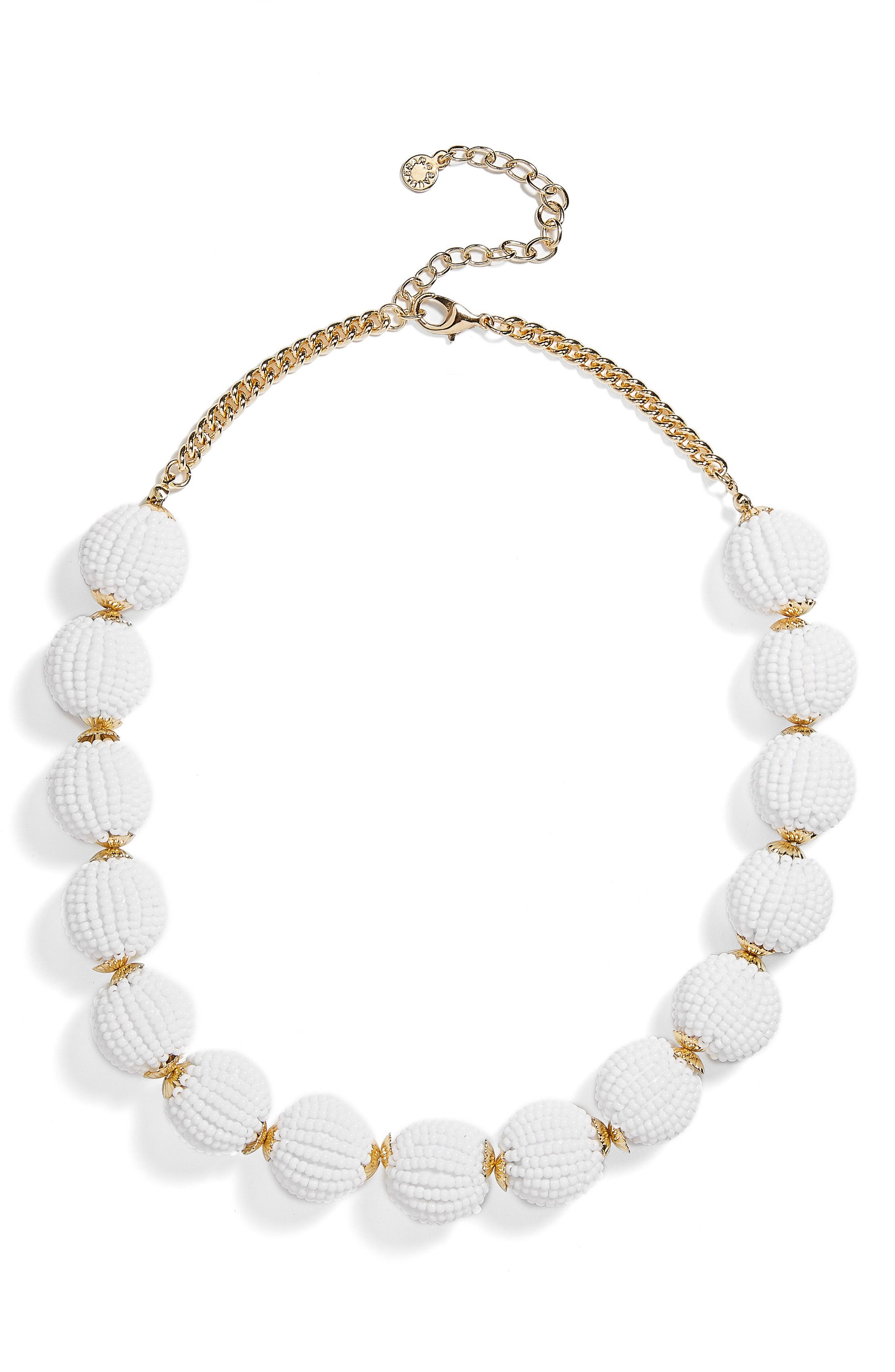 Beaded Ball Statement Necklace,                         Main,                         color, White