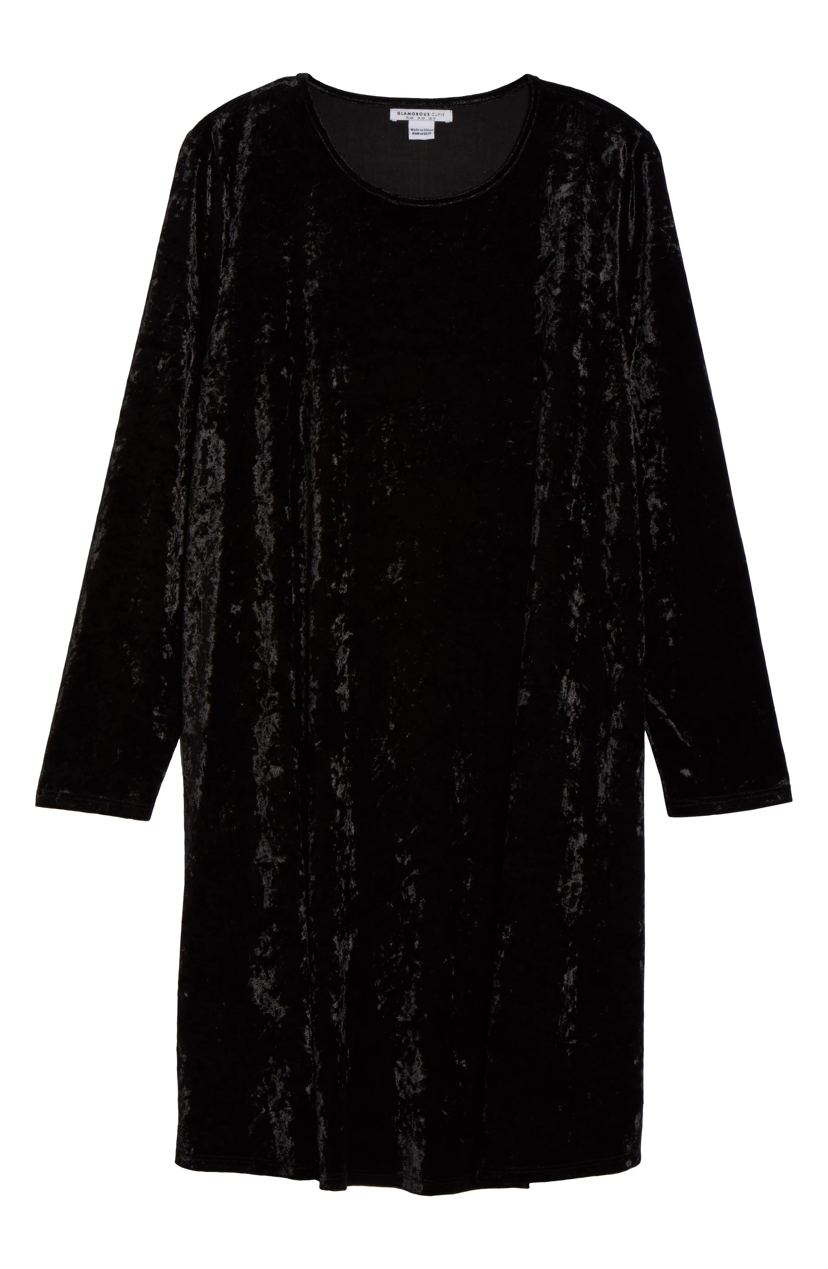 Velvet Shift Dress,                             Alternate thumbnail 6, color,                             Black Velvet