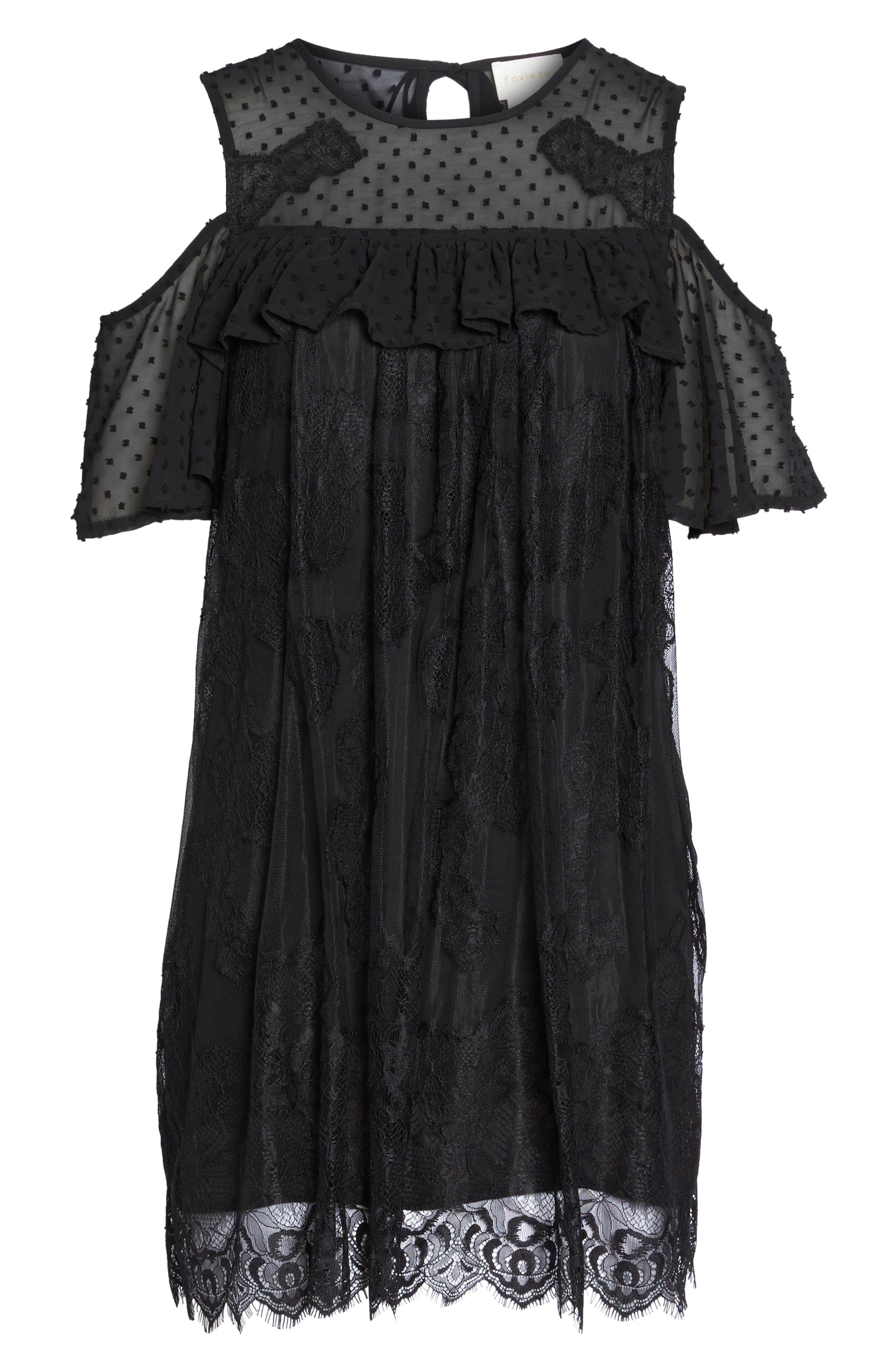Babette Cold Shoulder Trapeze Dress,                             Alternate thumbnail 6, color,                             Black