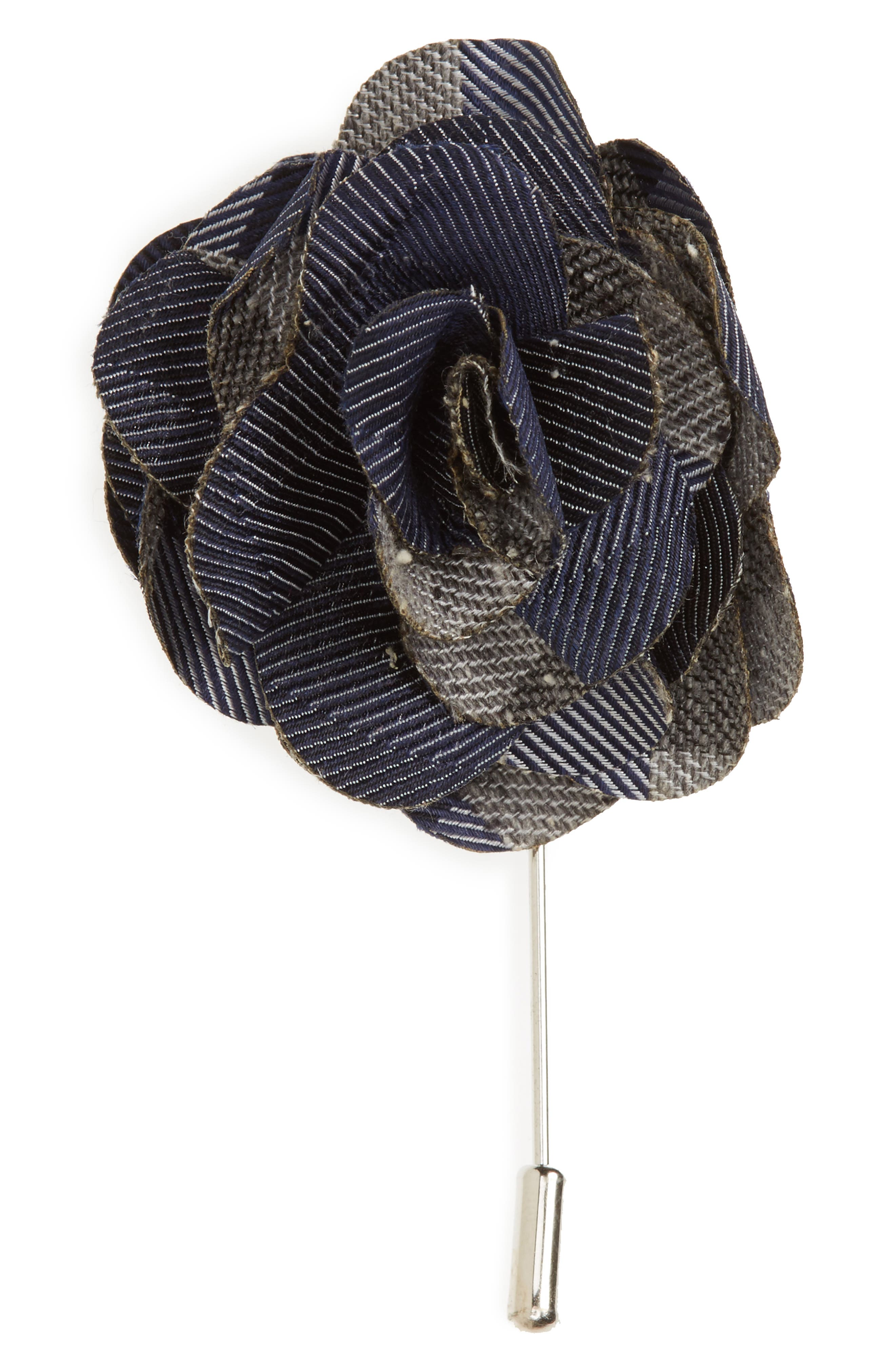 Splattered Gingham Silk Lapel Flower,                         Main,                         color, Navy