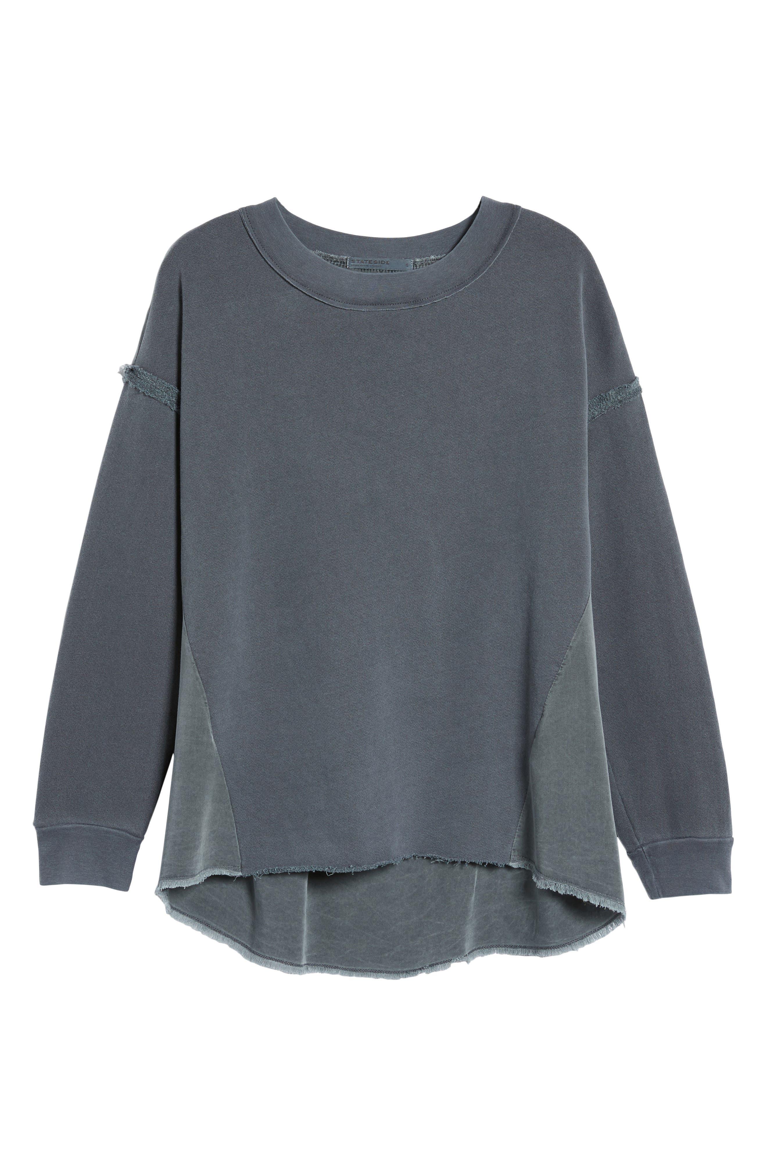 Mixed Media Swing Sweatshirt,                             Alternate thumbnail 6, color,                             Charcoal
