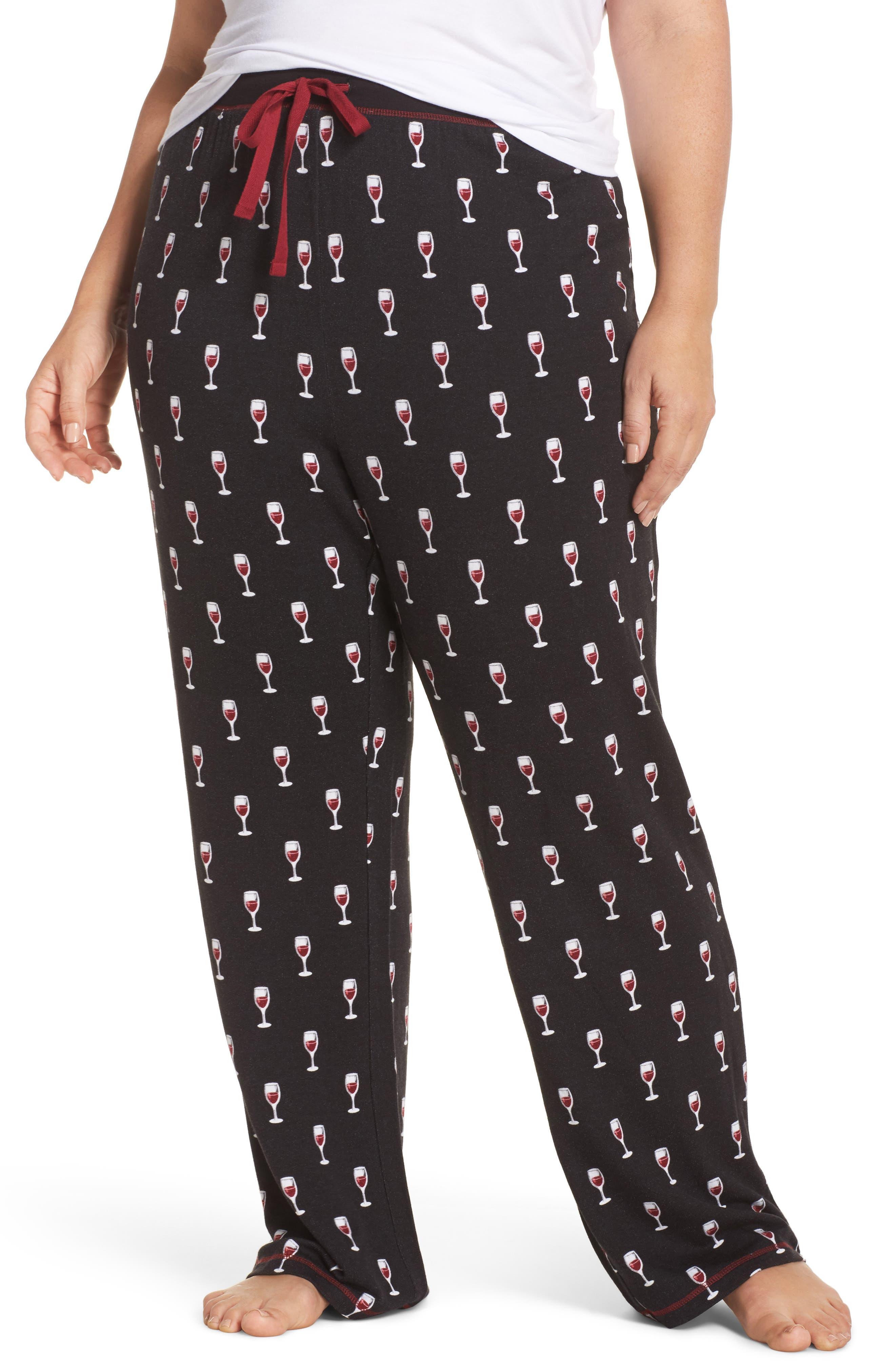 Wine Glasses Pajama Pants,                             Main thumbnail 1, color,                             Black