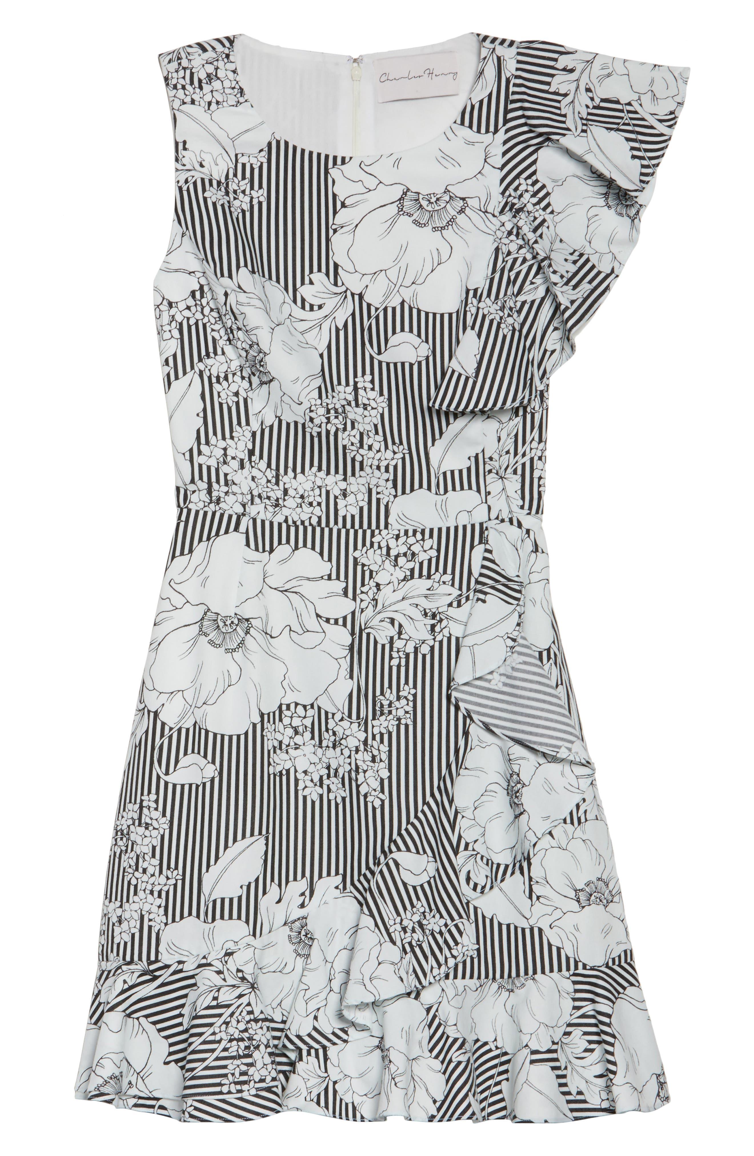 Floral Asymmetrical Ruffle Dress,                             Alternate thumbnail 6, color,                             Black White Floral