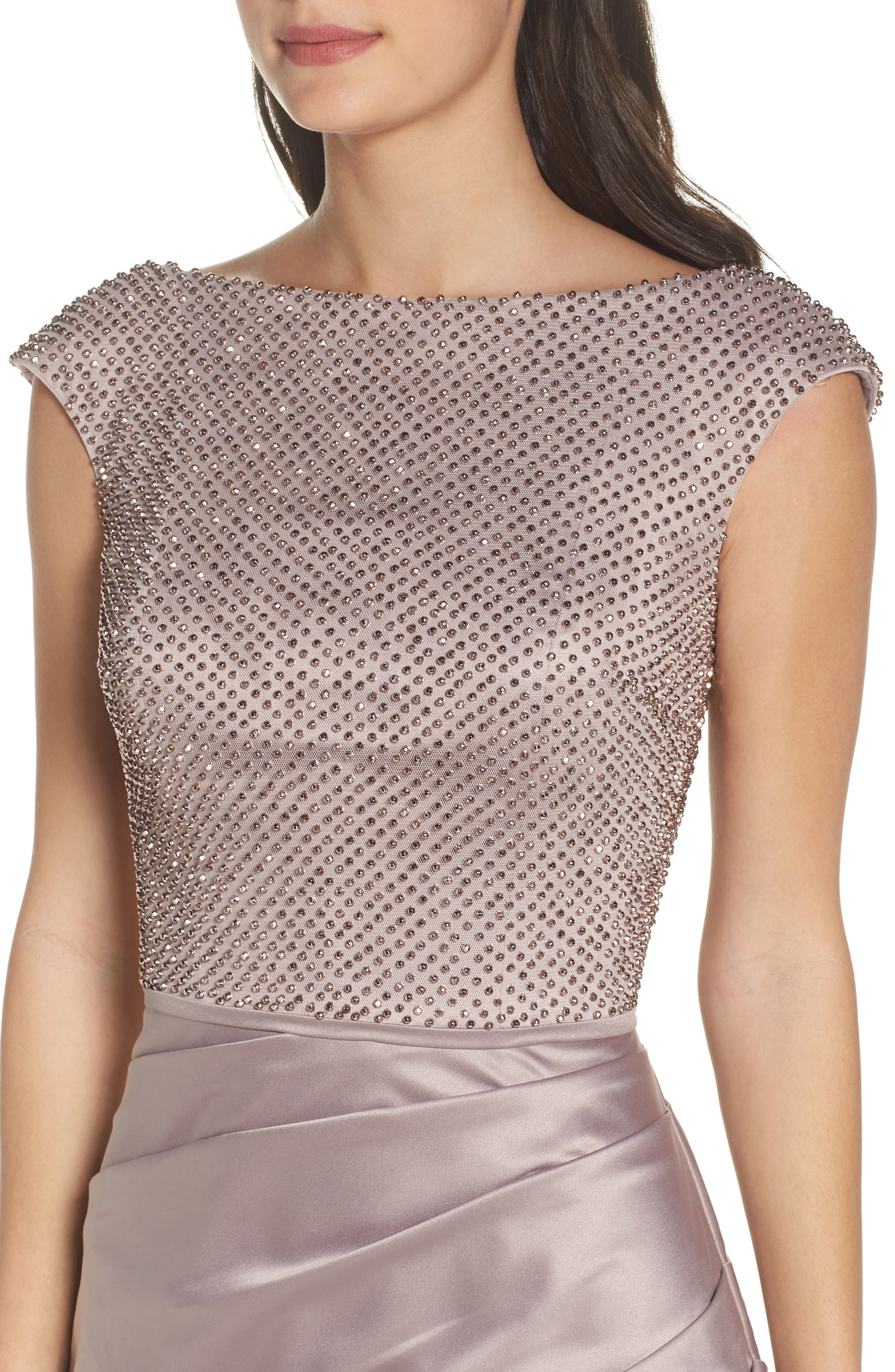 Embellished Bodice Trumpet Gown,                             Alternate thumbnail 4, color,                             Champagne