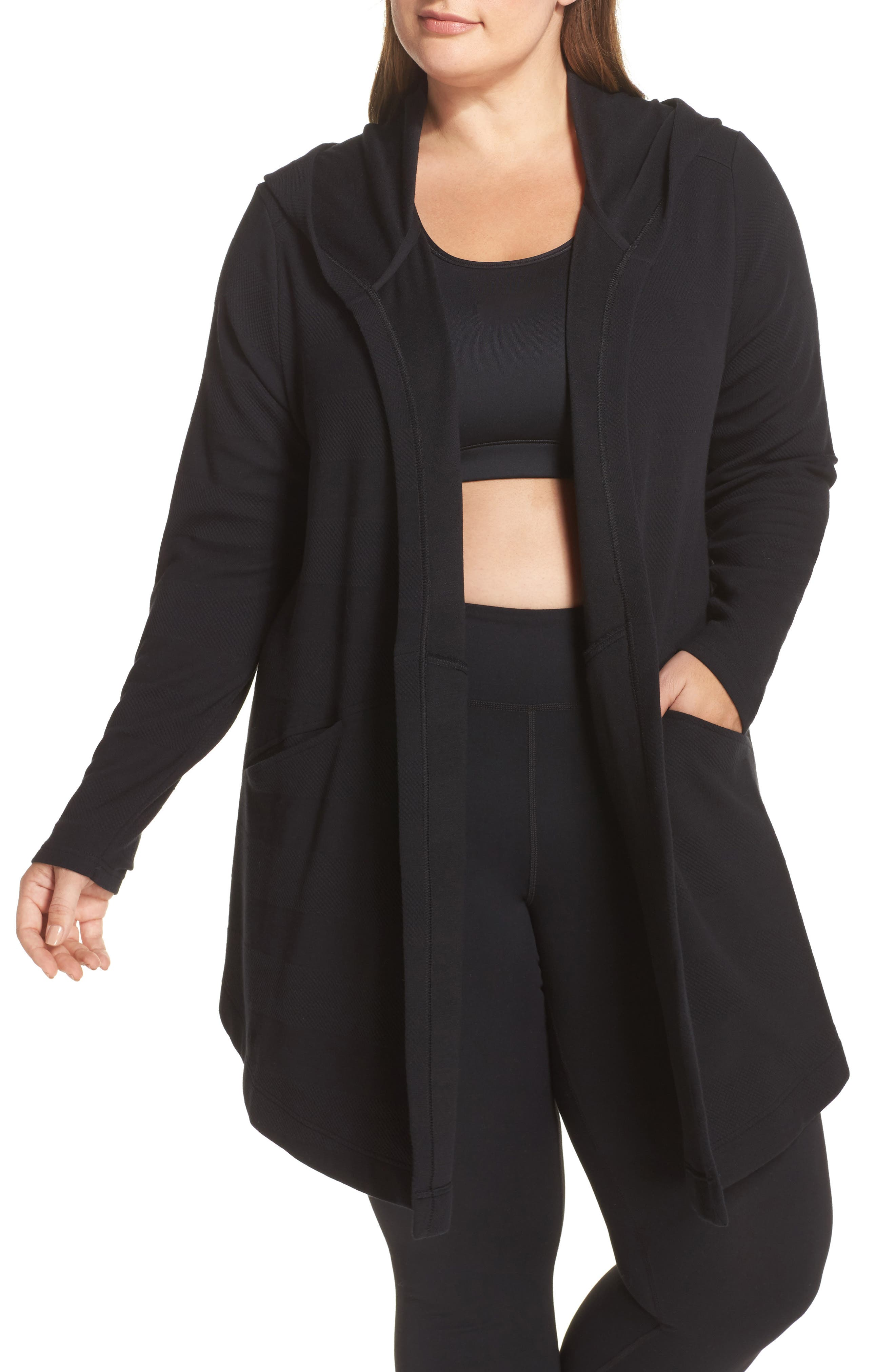 Ria Hooded Cardigan,                         Main,                         color, Black