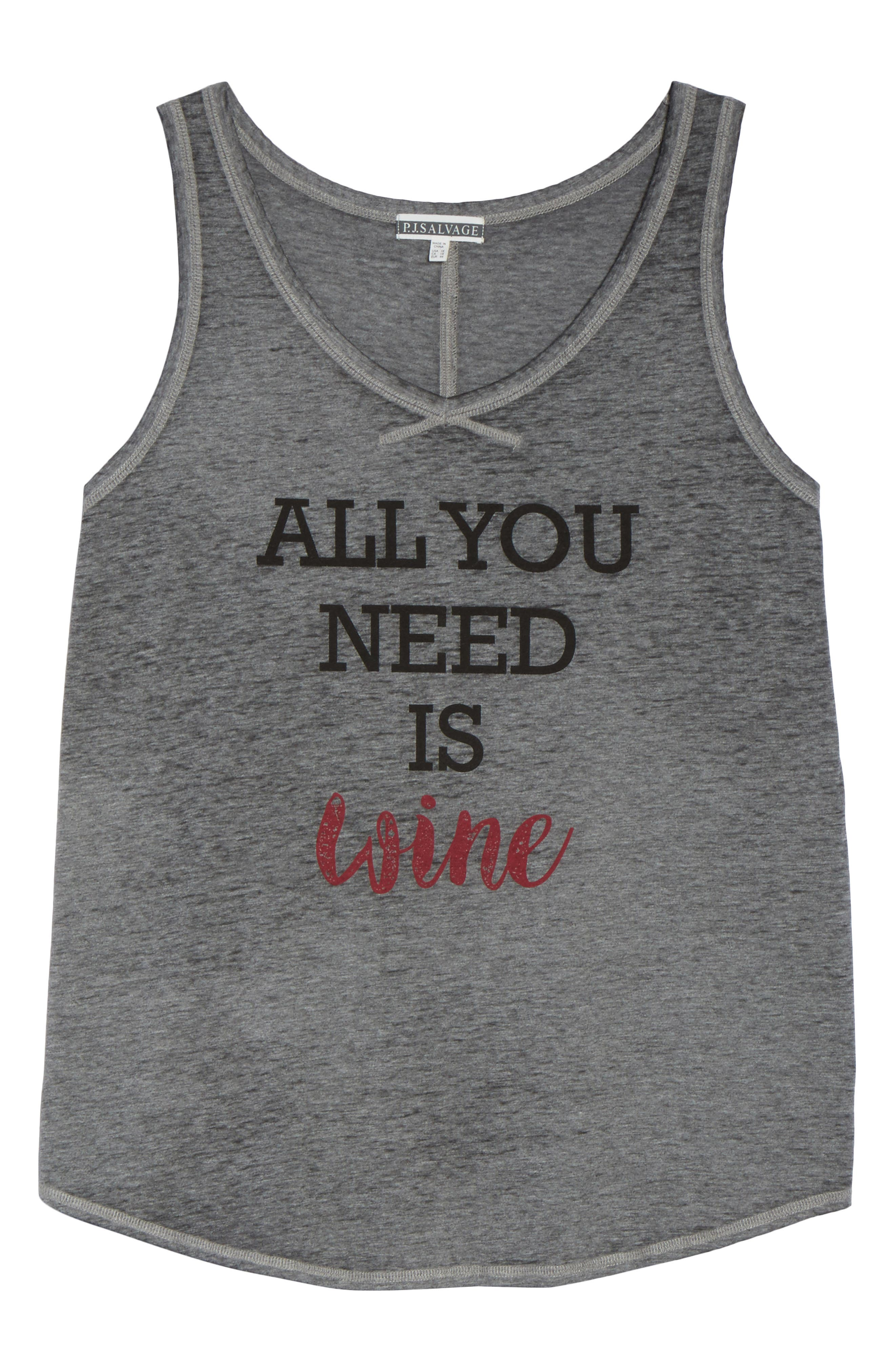 All You Need Is Wine Tank,                             Alternate thumbnail 4, color,                             Heather Grey