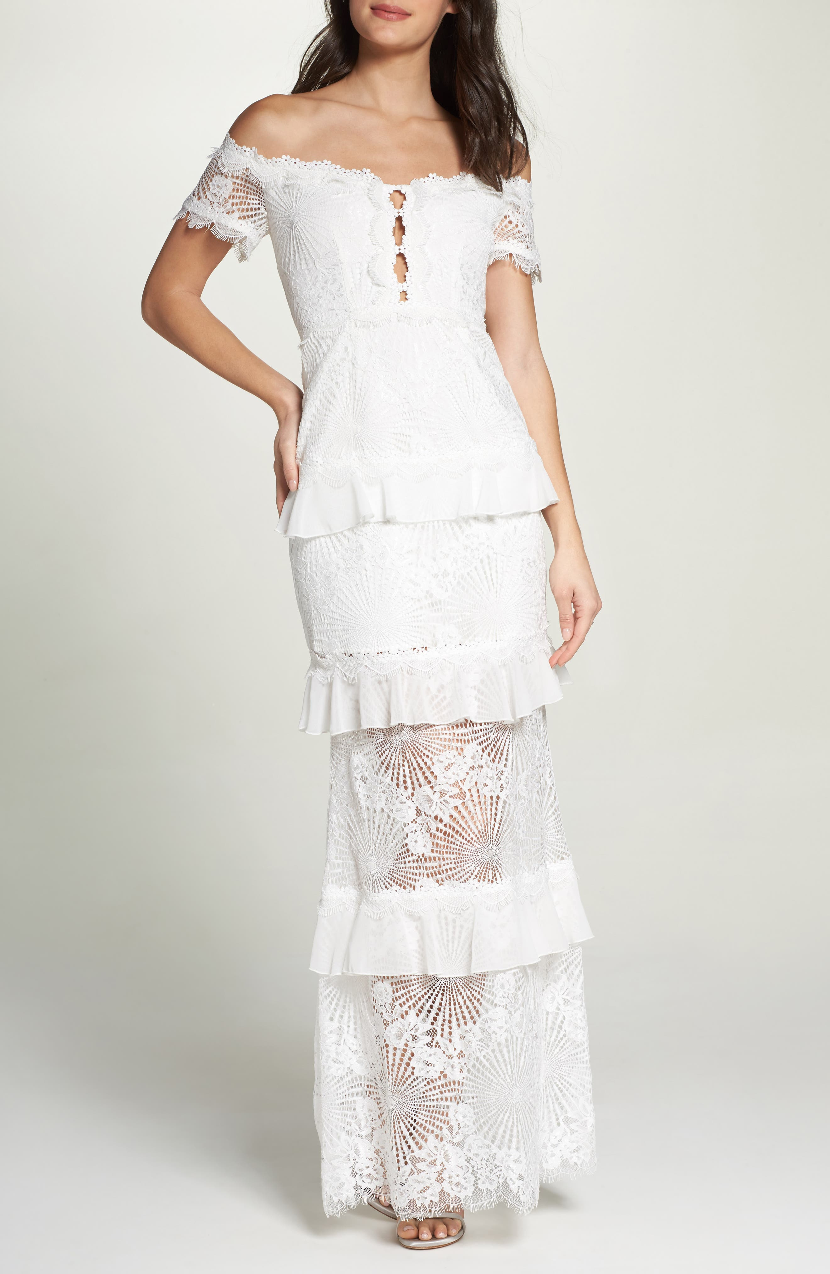 Off the Shoulder Ruffle Tier Mermaid Gown,                         Main,                         color, Ivory