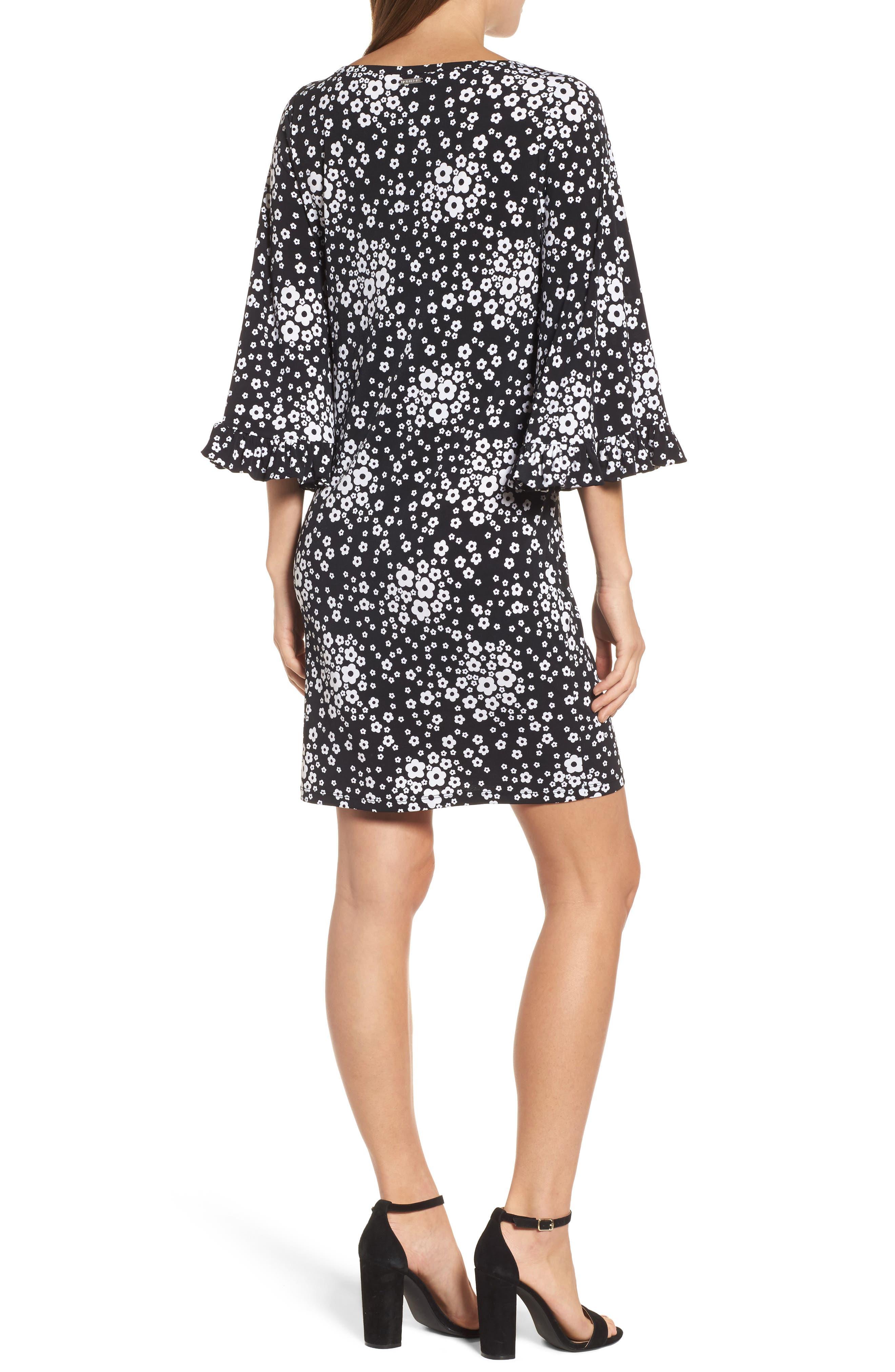 Floral Mod Shift Dress,                             Alternate thumbnail 2, color,                             Black/ White