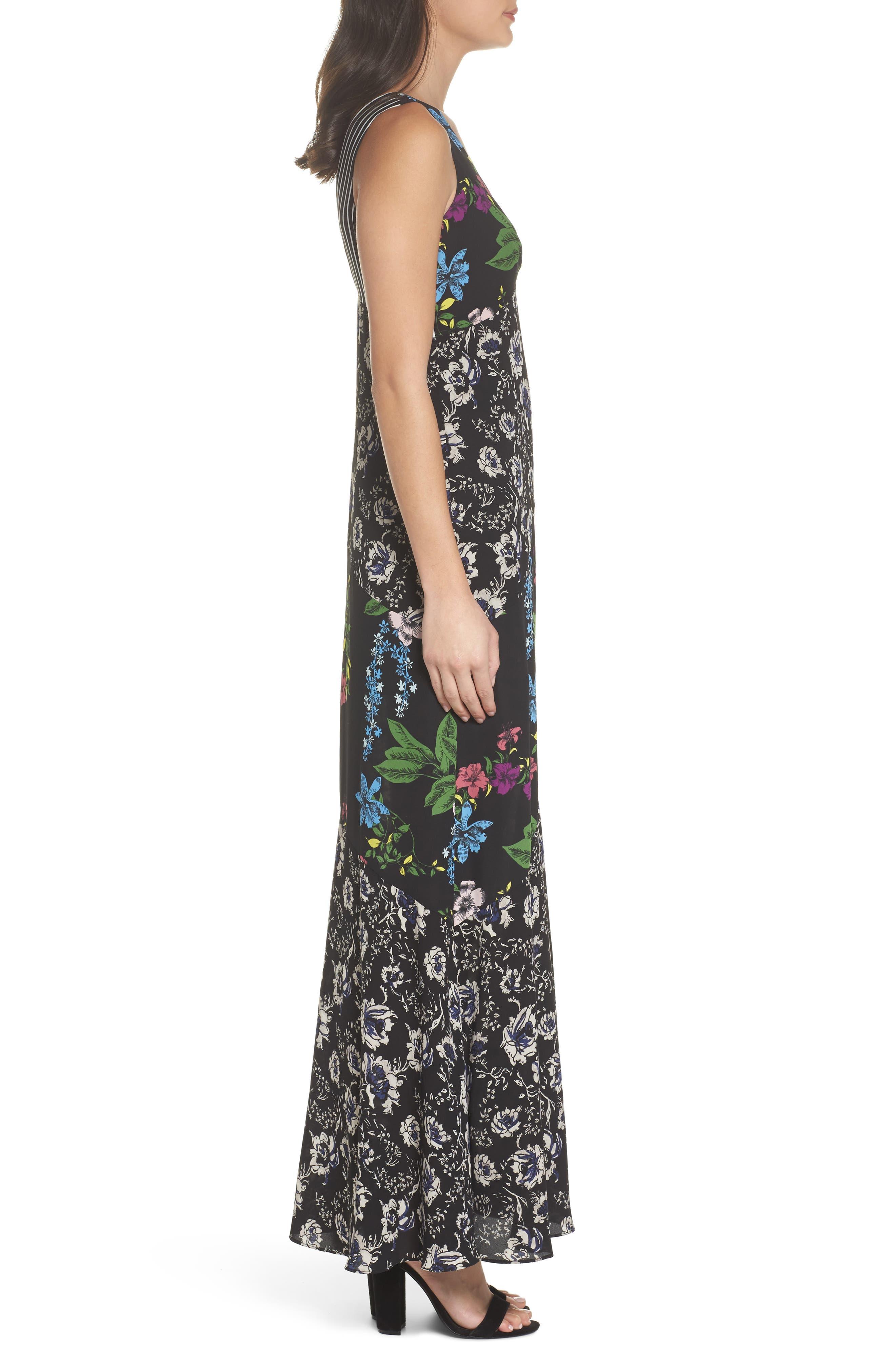Floral Maxi Dress,                             Alternate thumbnail 3, color,                             Multi Botanical