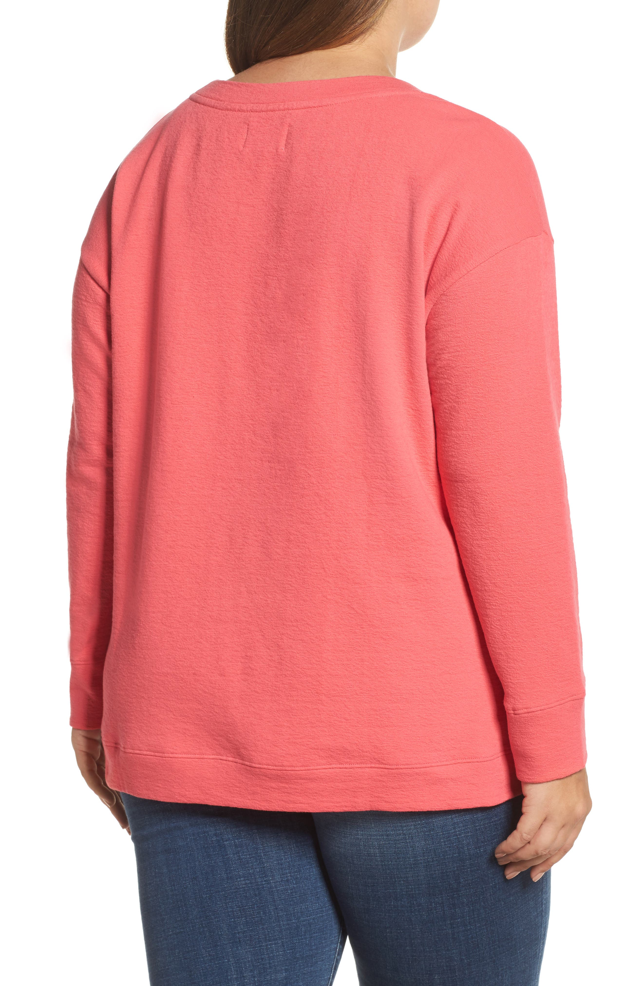 Side Slit Sweatshirt,                             Alternate thumbnail 2, color,                             Pink Ribbon