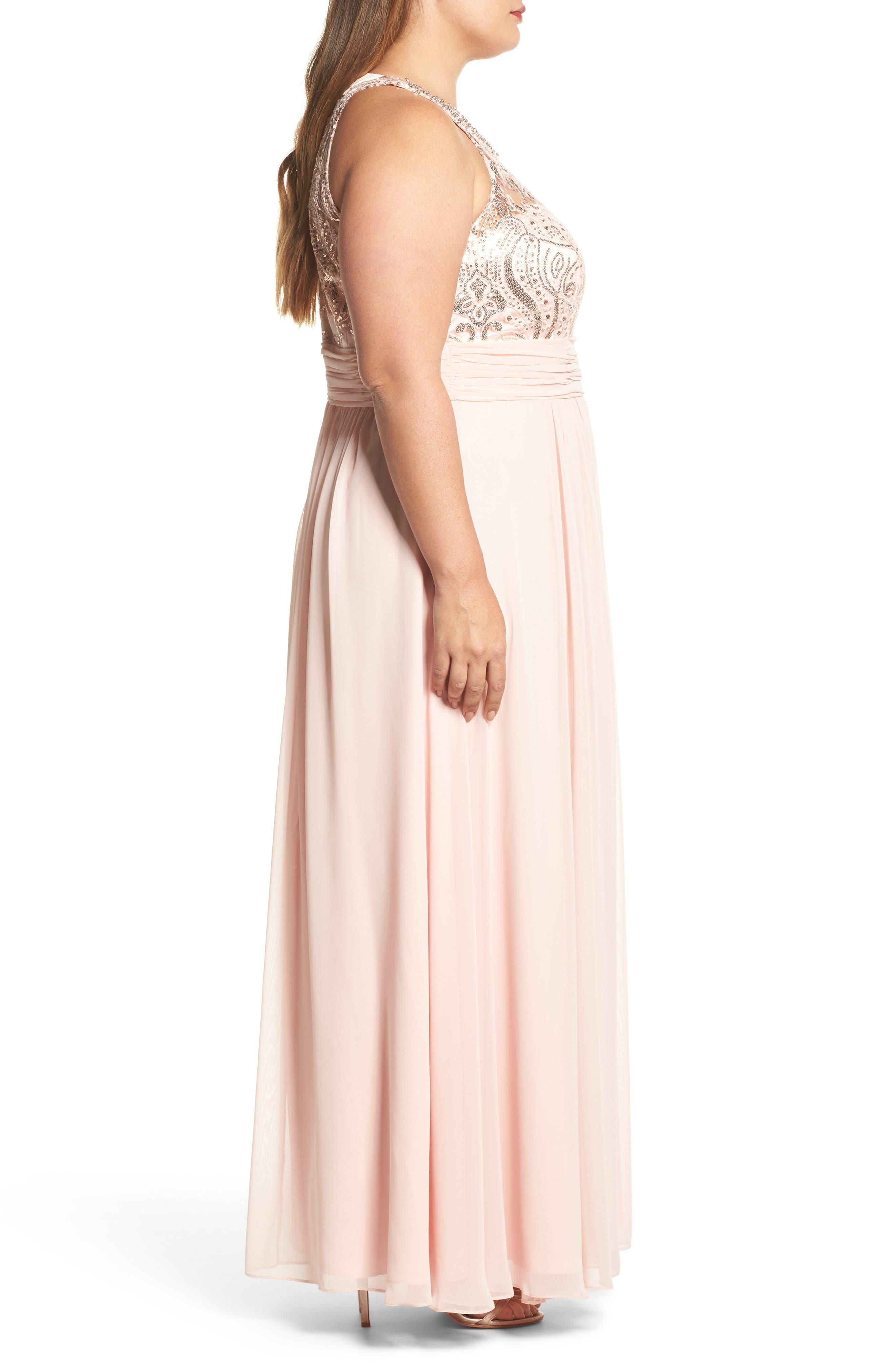 Sequin & Lace Bodice Chiffon Gown,                             Alternate thumbnail 3, color,                             Blush