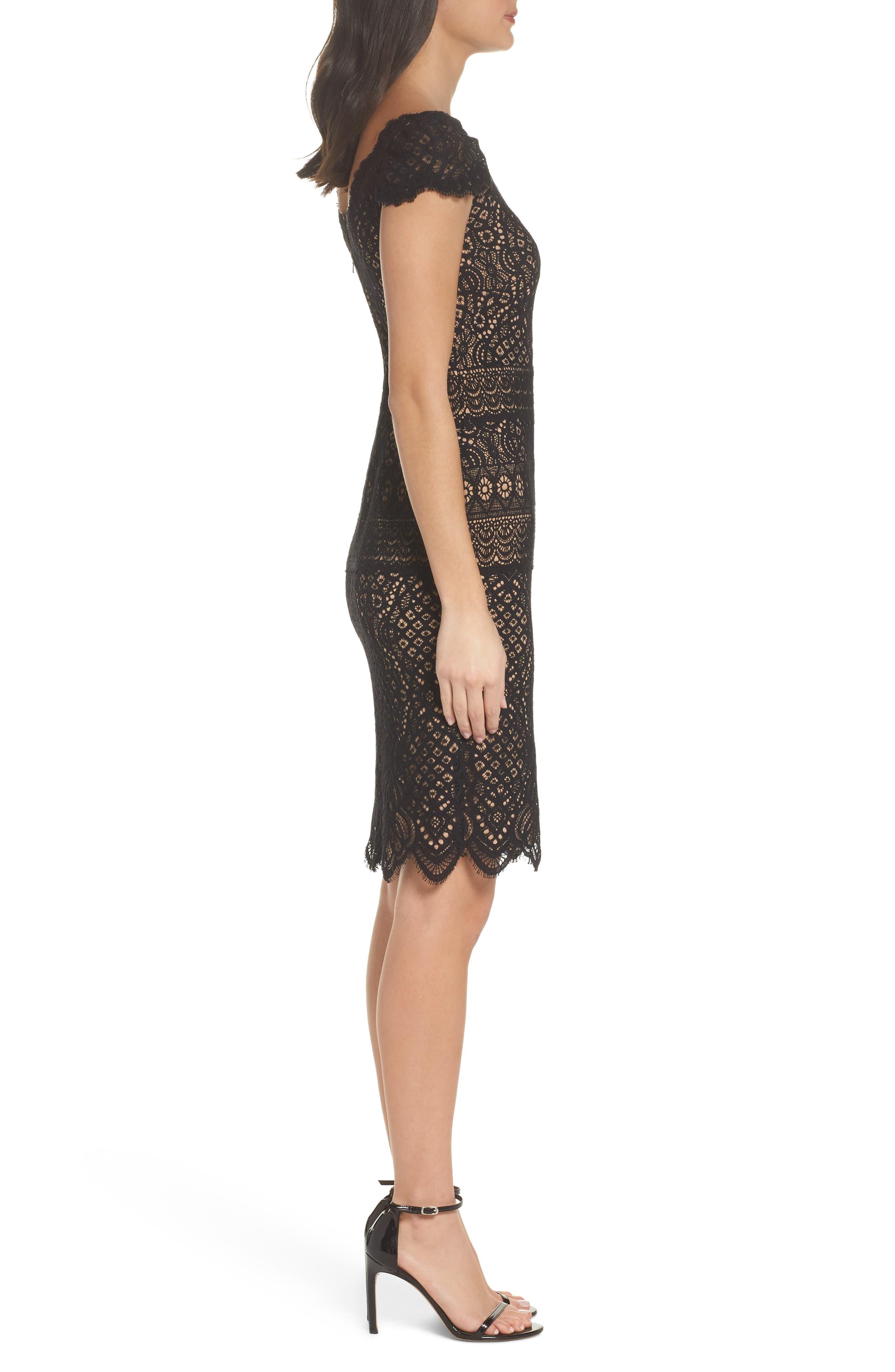 Lace Cap Sleeve Dress,                             Alternate thumbnail 3, color,                             Black / Nude