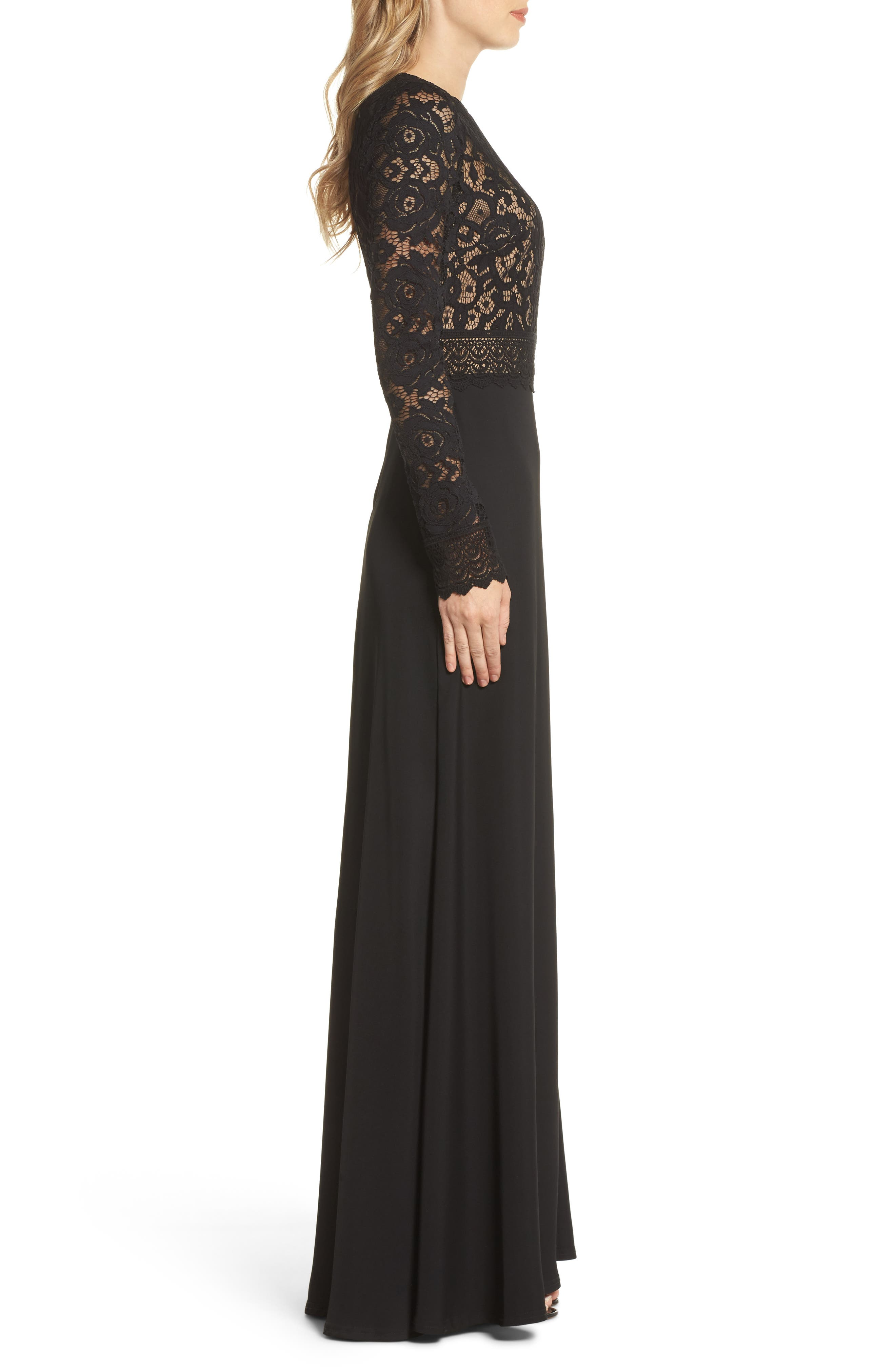 Lace & Crepe Gown,                             Alternate thumbnail 3, color,                             Black/ Nude