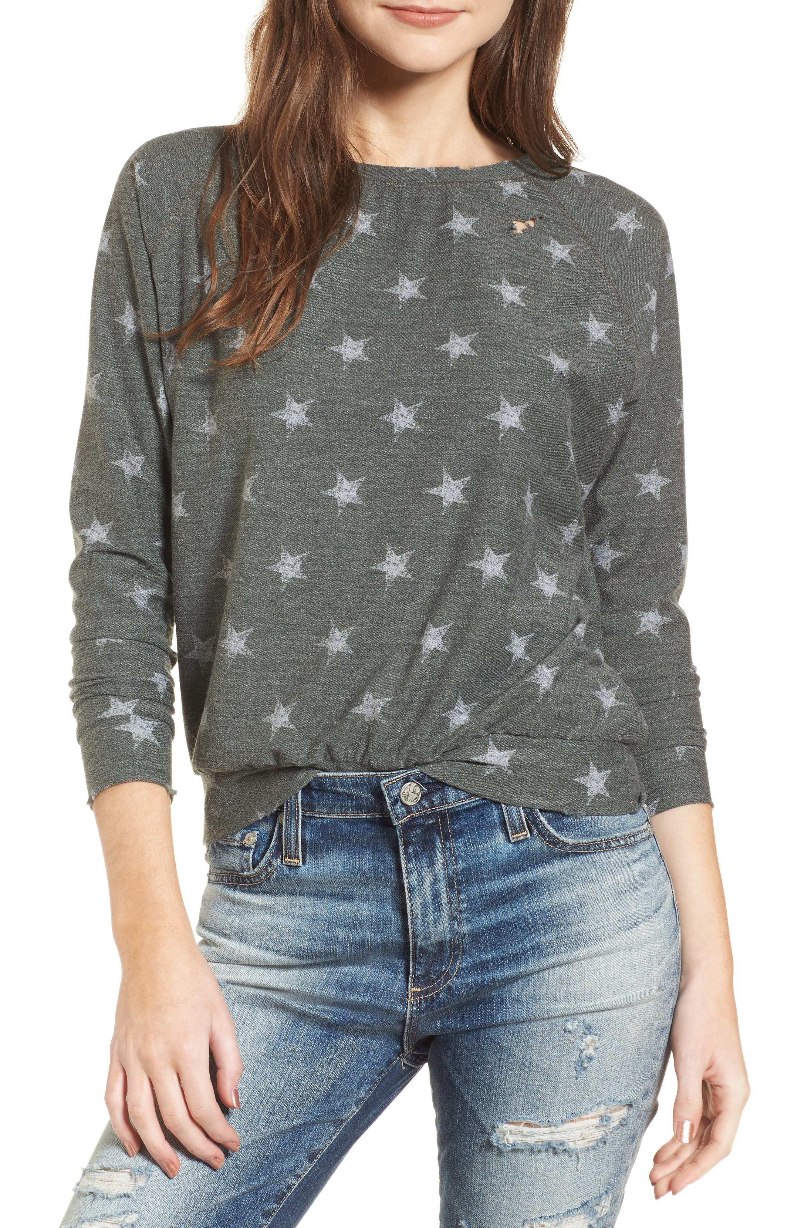 All Over Stars Pullover,                         Main,                         color, Olive