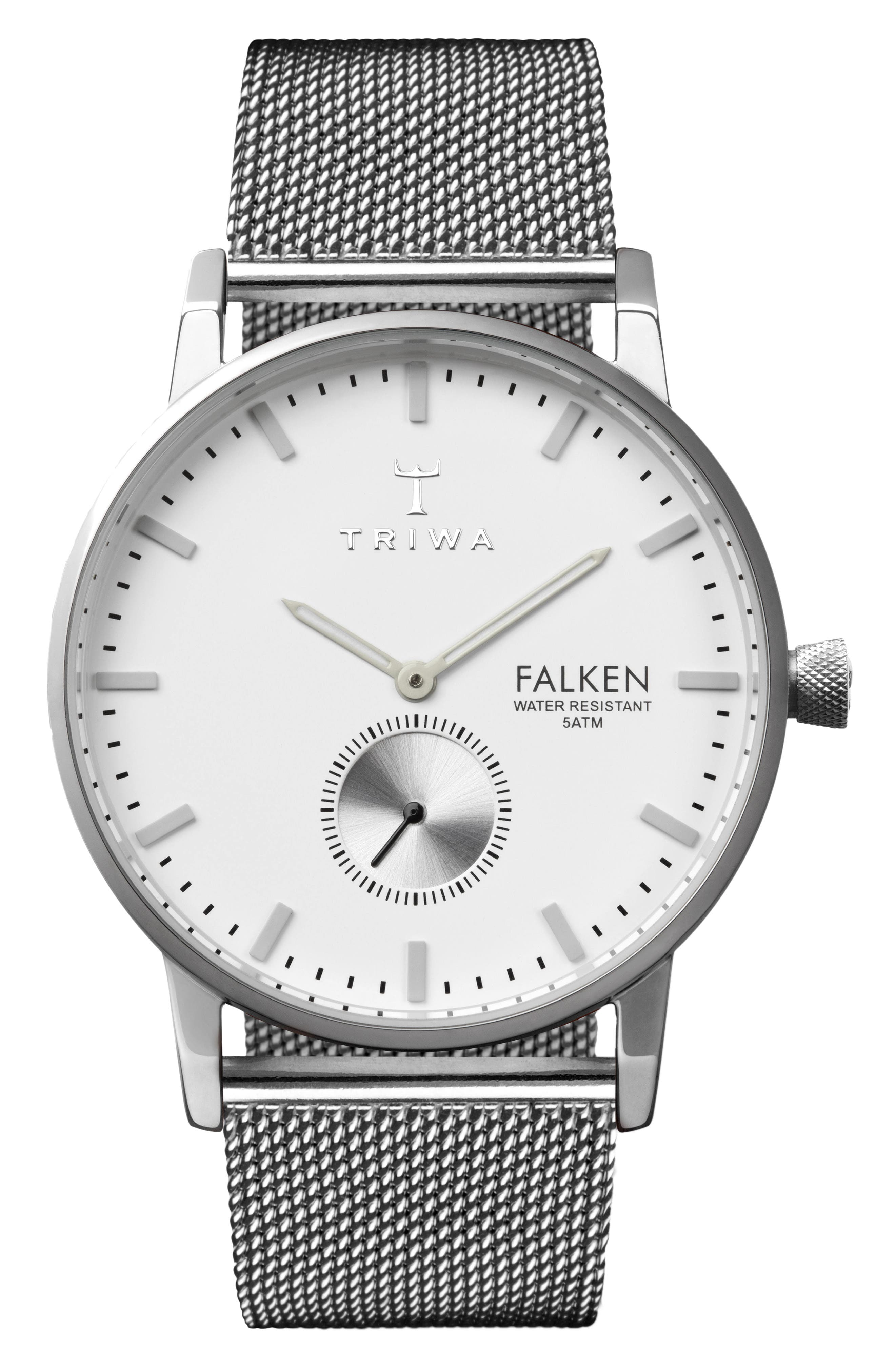 Ivory Falken Mesh Strap Watch, 38mm,                         Main,                         color, Silver/ White/ Silver