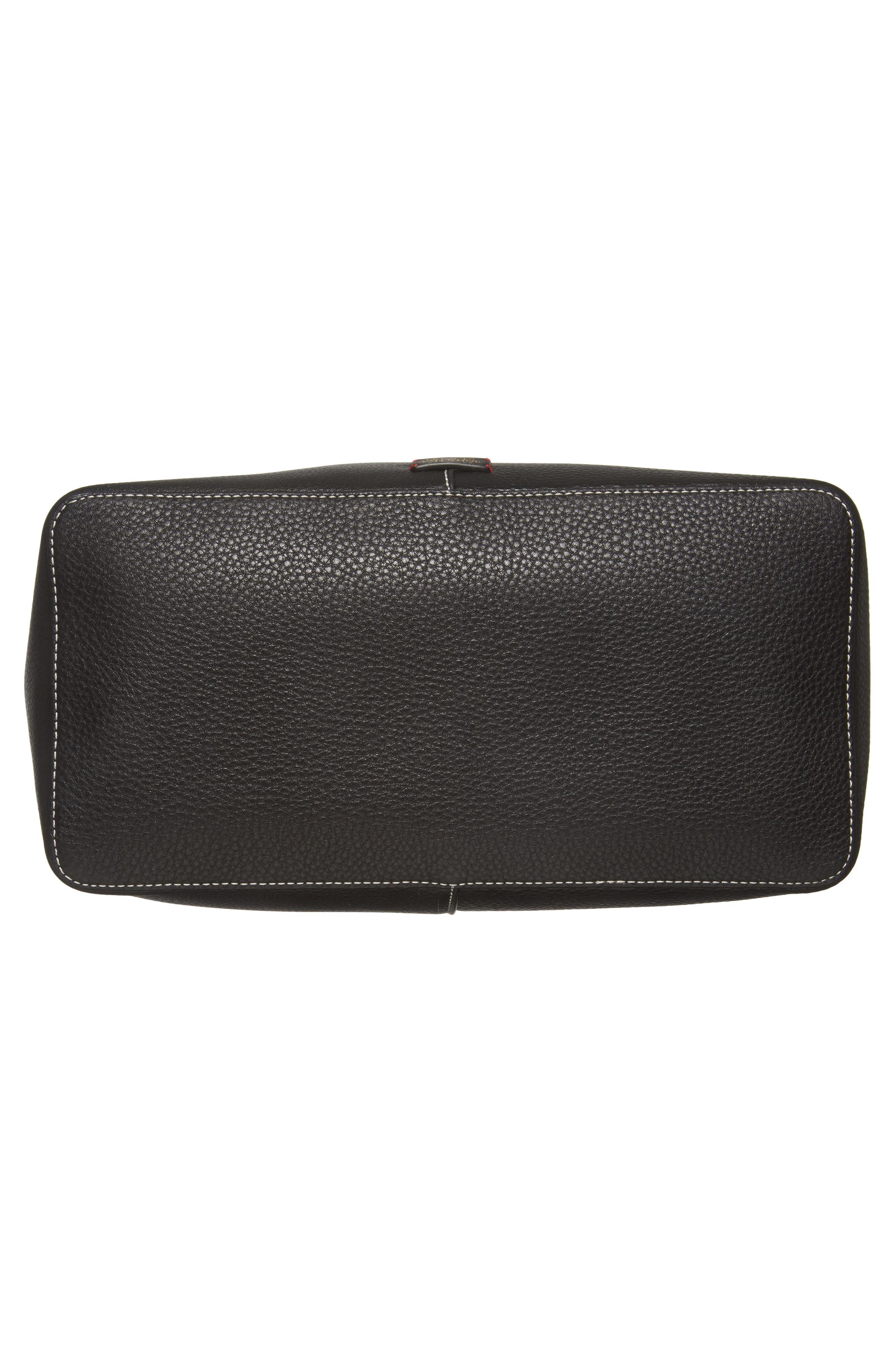 Large Leather Shoulder Bag,                             Alternate thumbnail 6, color,                             Black