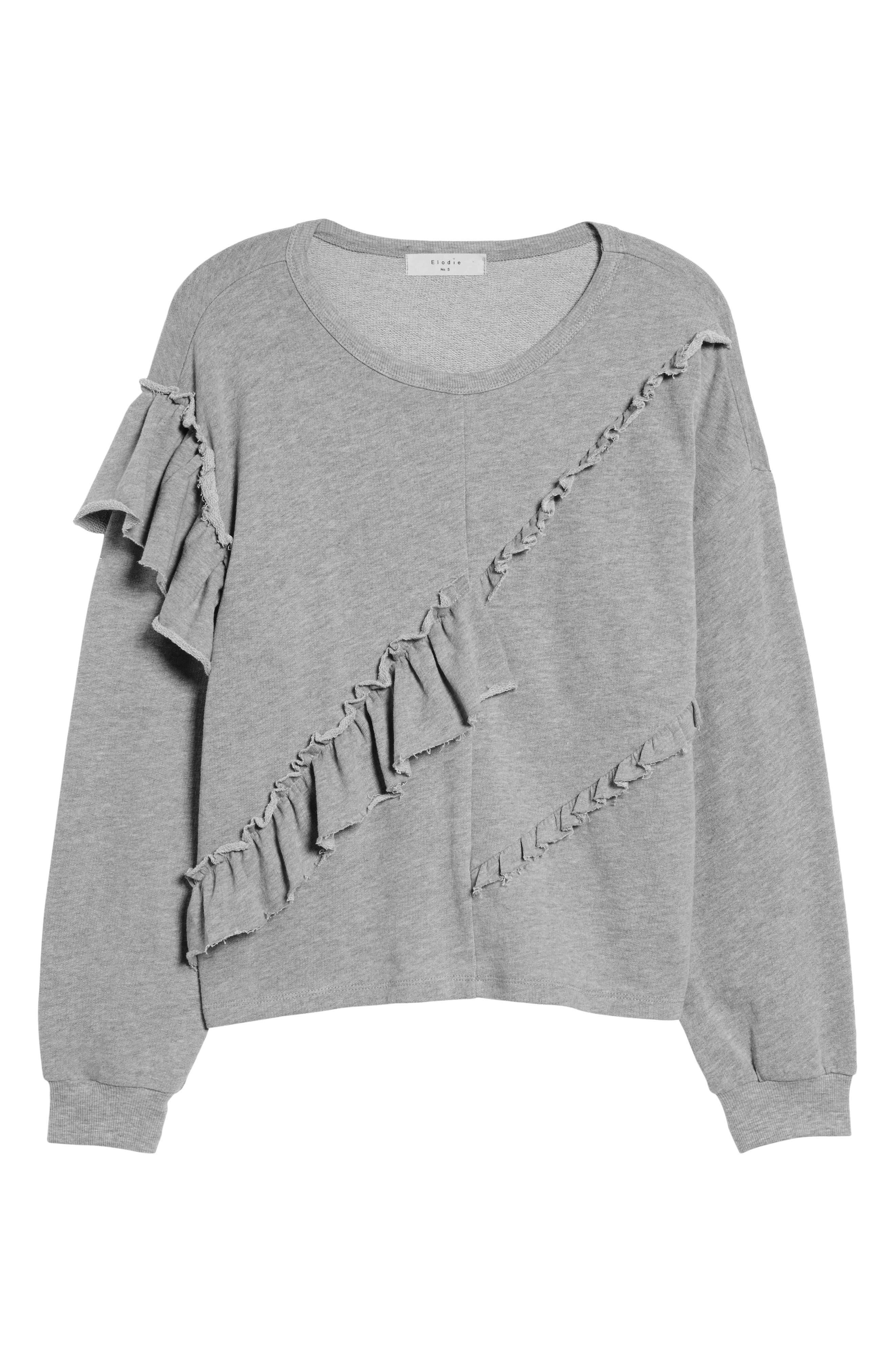 Asymmetric Ruffle Sweatshirt,                             Alternate thumbnail 6, color,                             Heather Grey