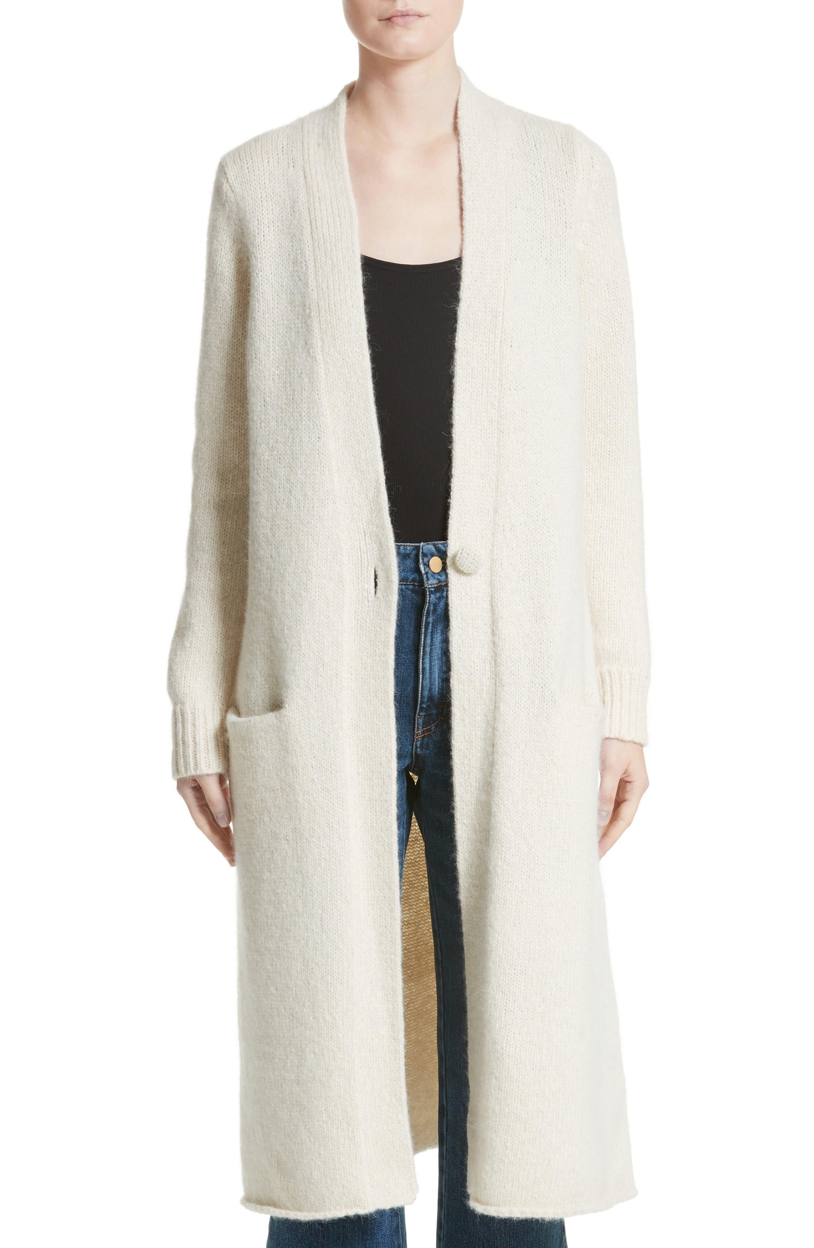 Long Alpaca Blend Button Cardigan,                         Main,                         color, Ivory