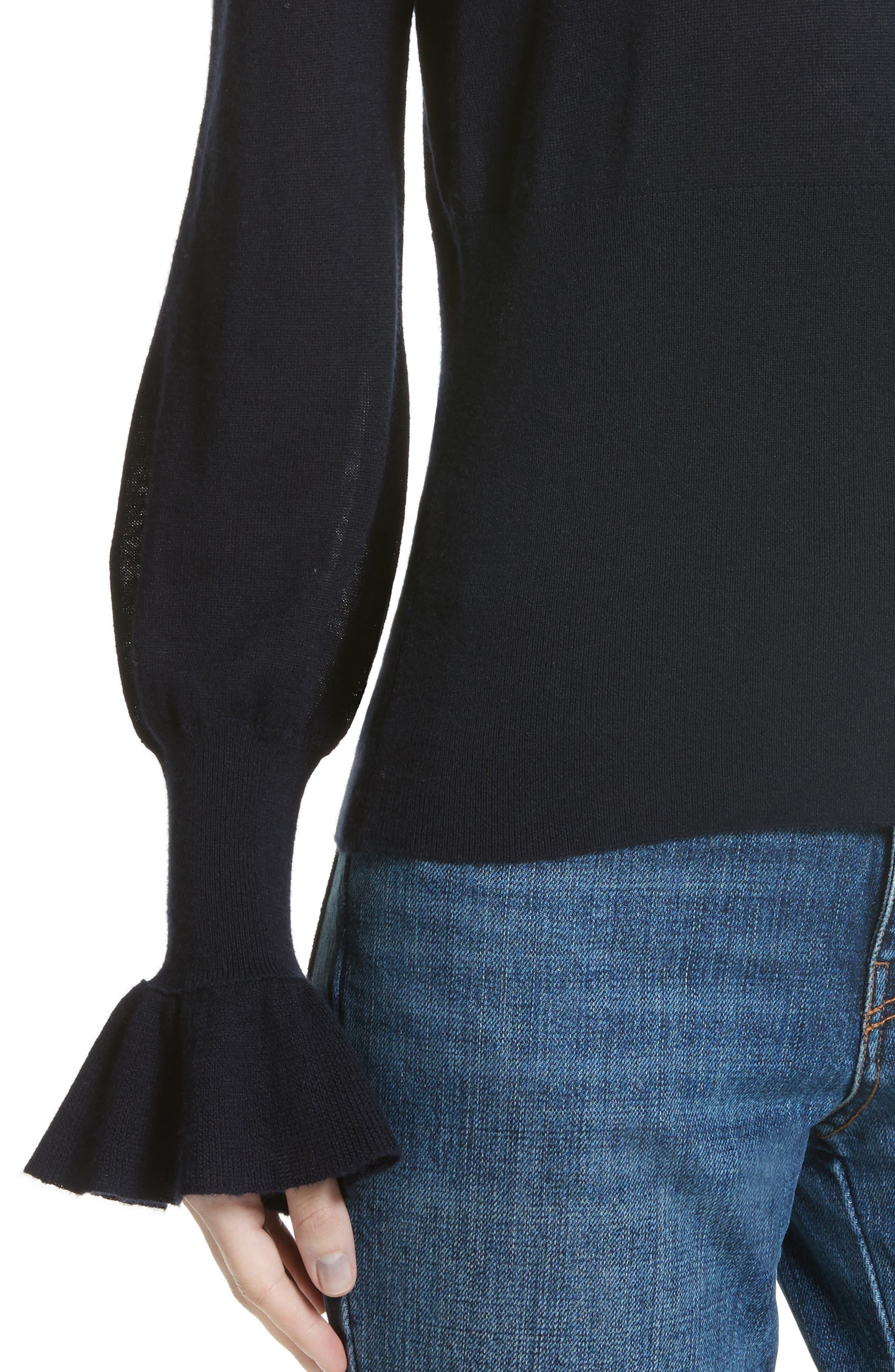 Alternate Image 4  - Co Ruffle Sleeve Silk & Cashmere Sweater