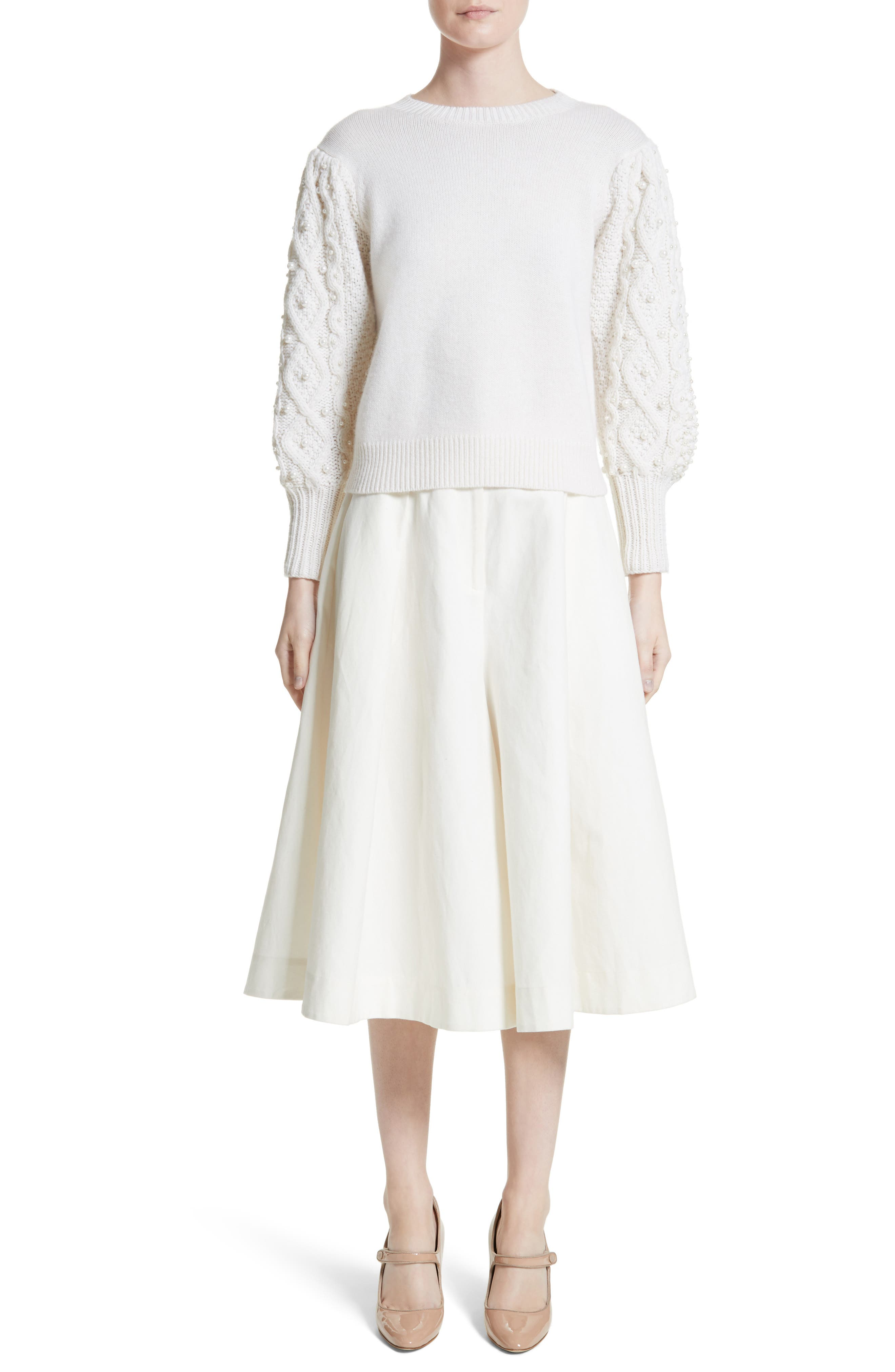 Imitation Pearl Embellished Wool & Cashmere Sweater,                             Alternate thumbnail 8, color,                             Ivory