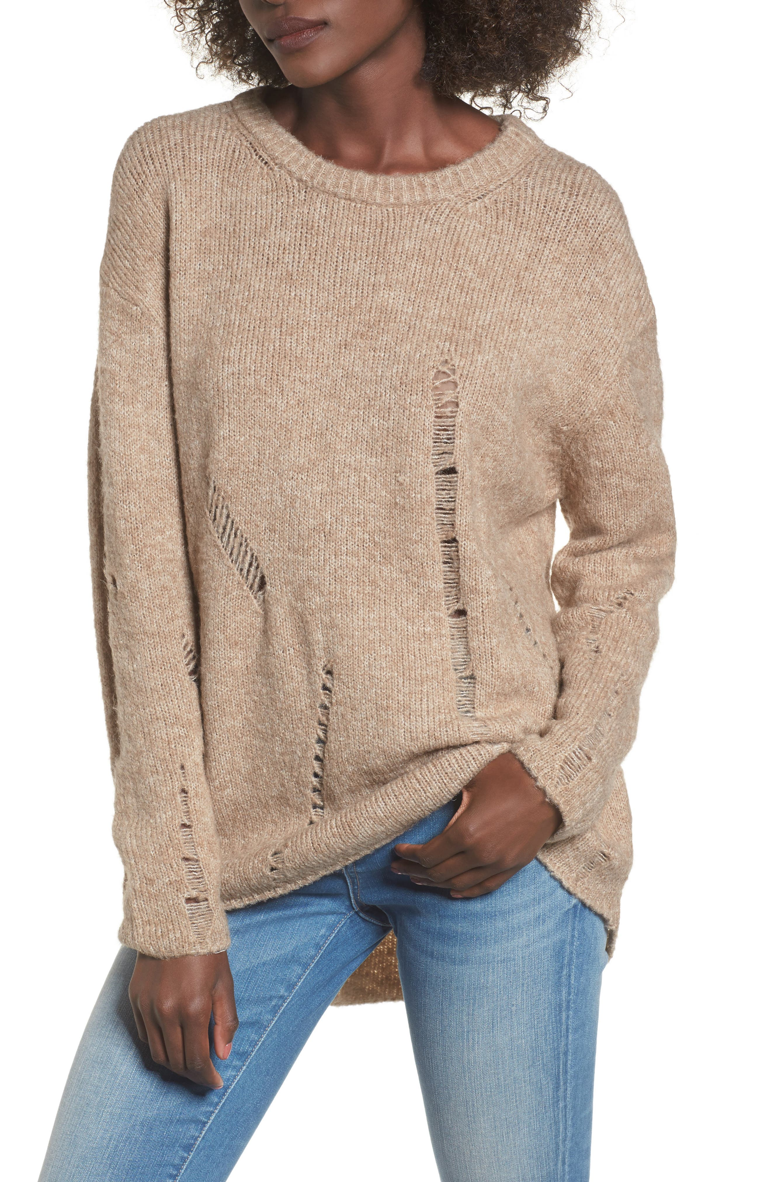 Destroyed Tunic Sweater,                         Main,                         color, Beige