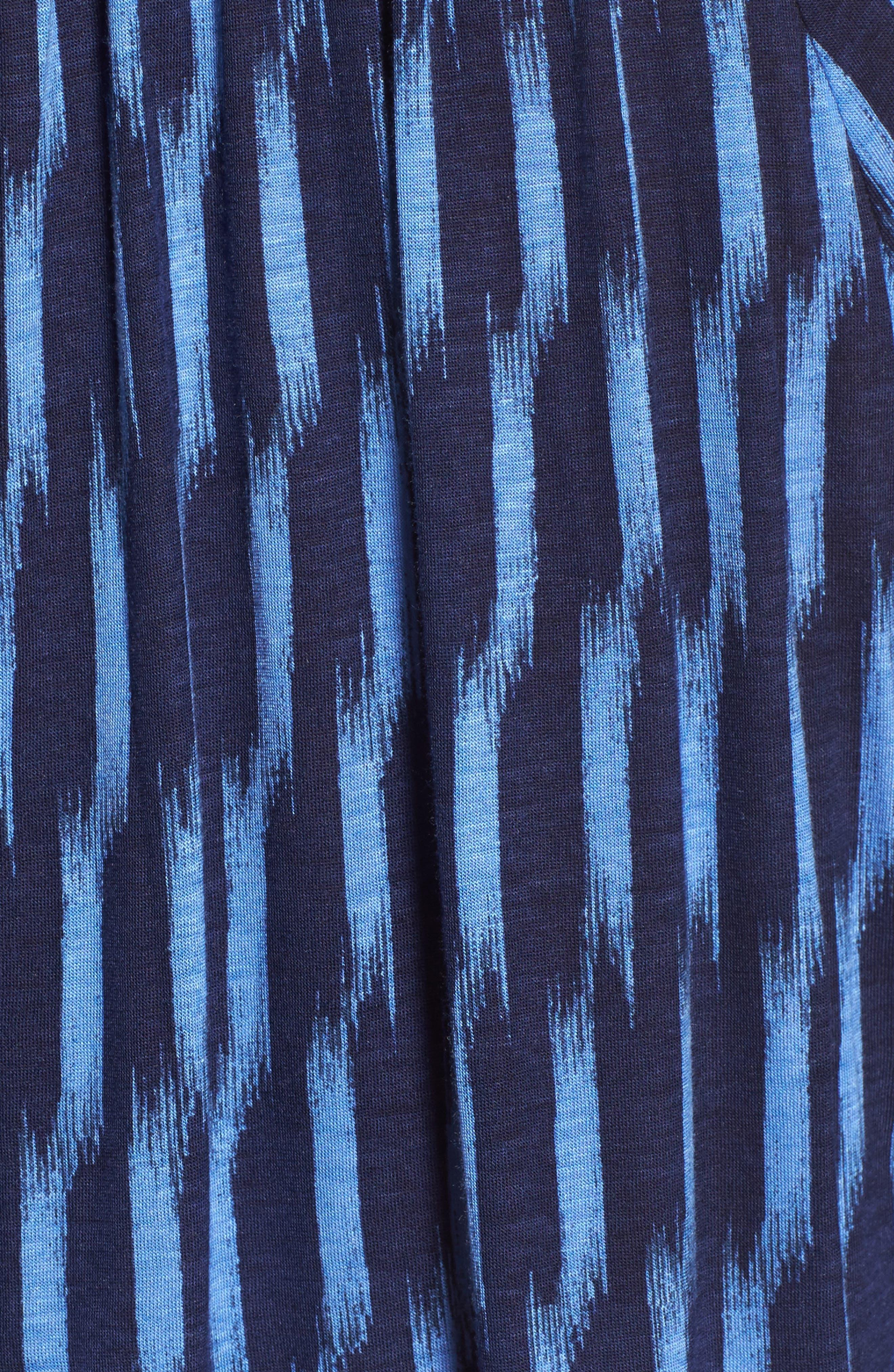 Sari Print Peasant Top,                             Alternate thumbnail 5, color,                             Oxford Blue/ True Navy