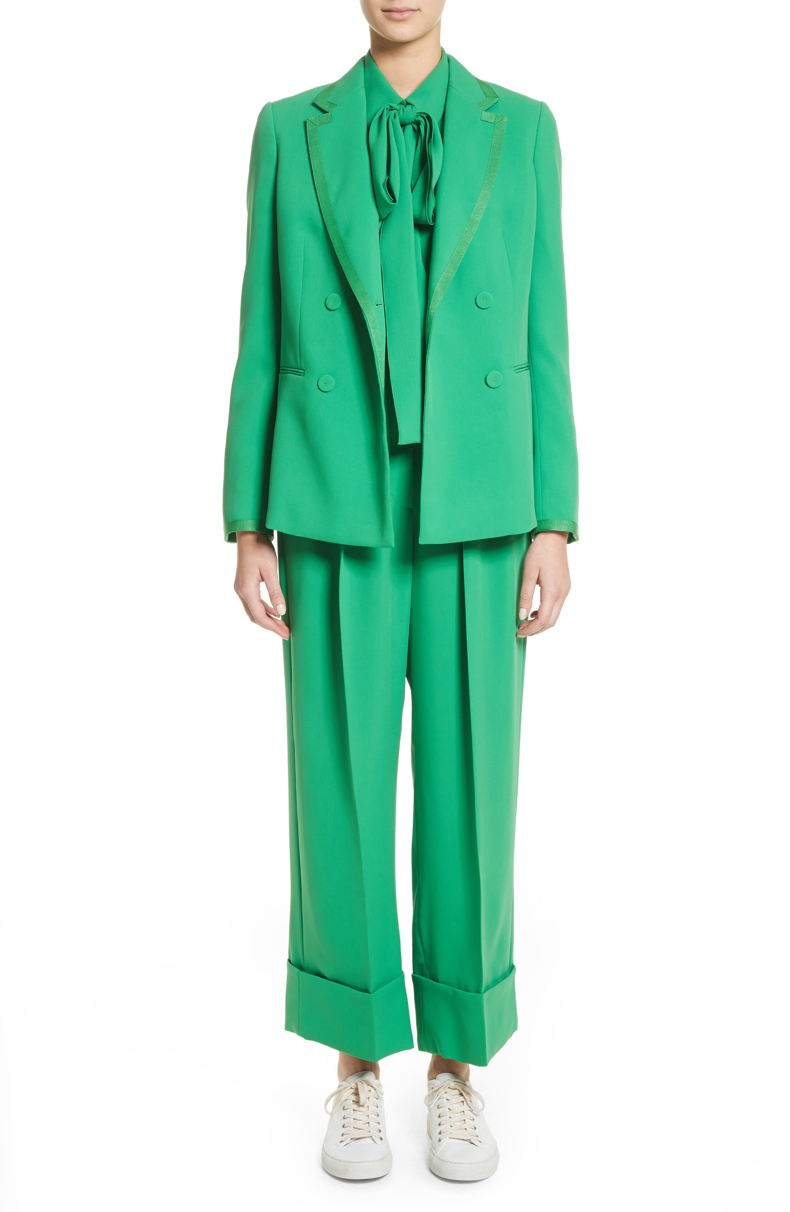 Double Breasted Blazer,                             Alternate thumbnail 9, color,                             Green