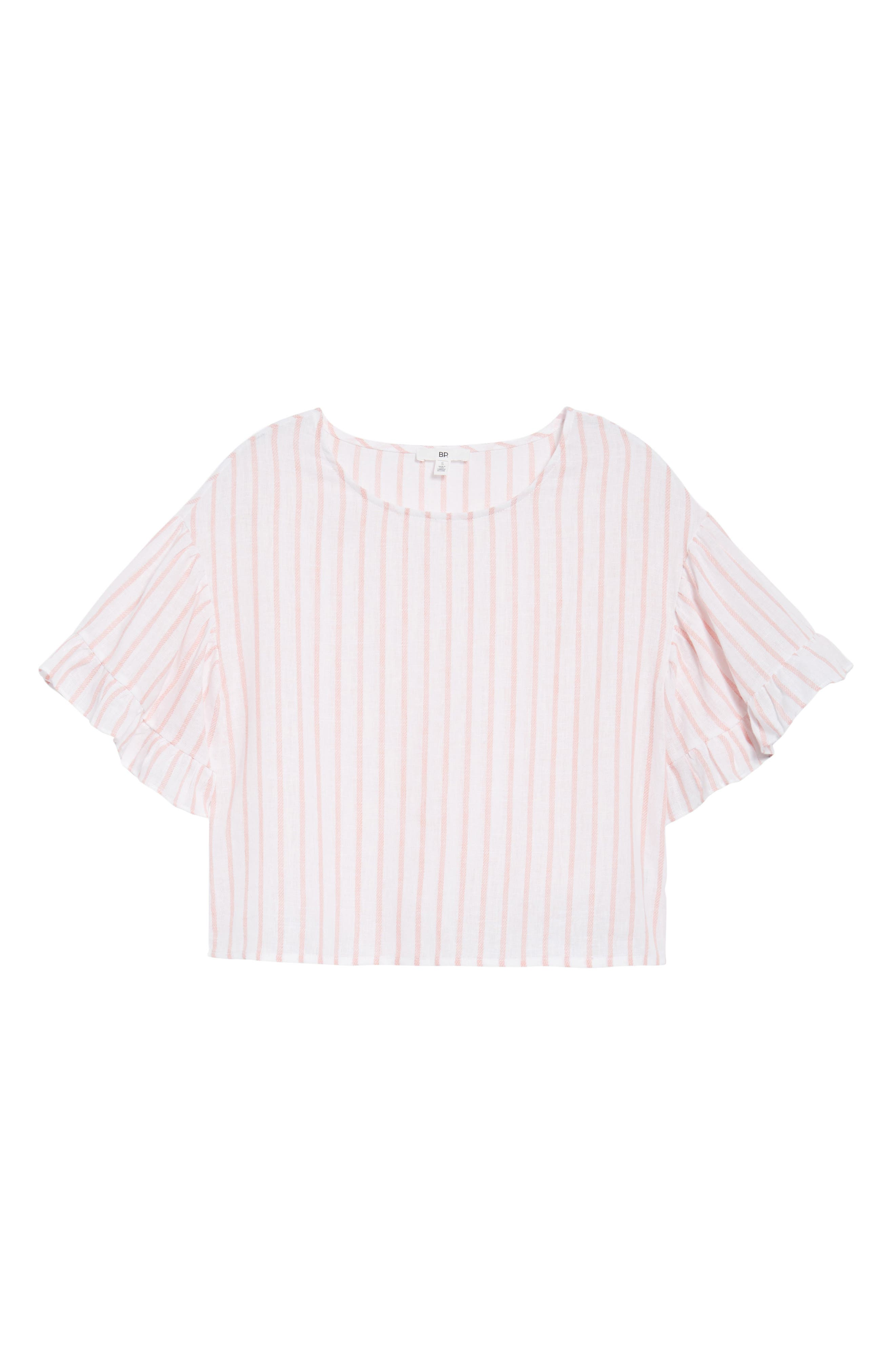 Ruffle Sleeve Linen Blend Crop Top,                             Alternate thumbnail 6, color,                             Pink Breath Katie Stripe