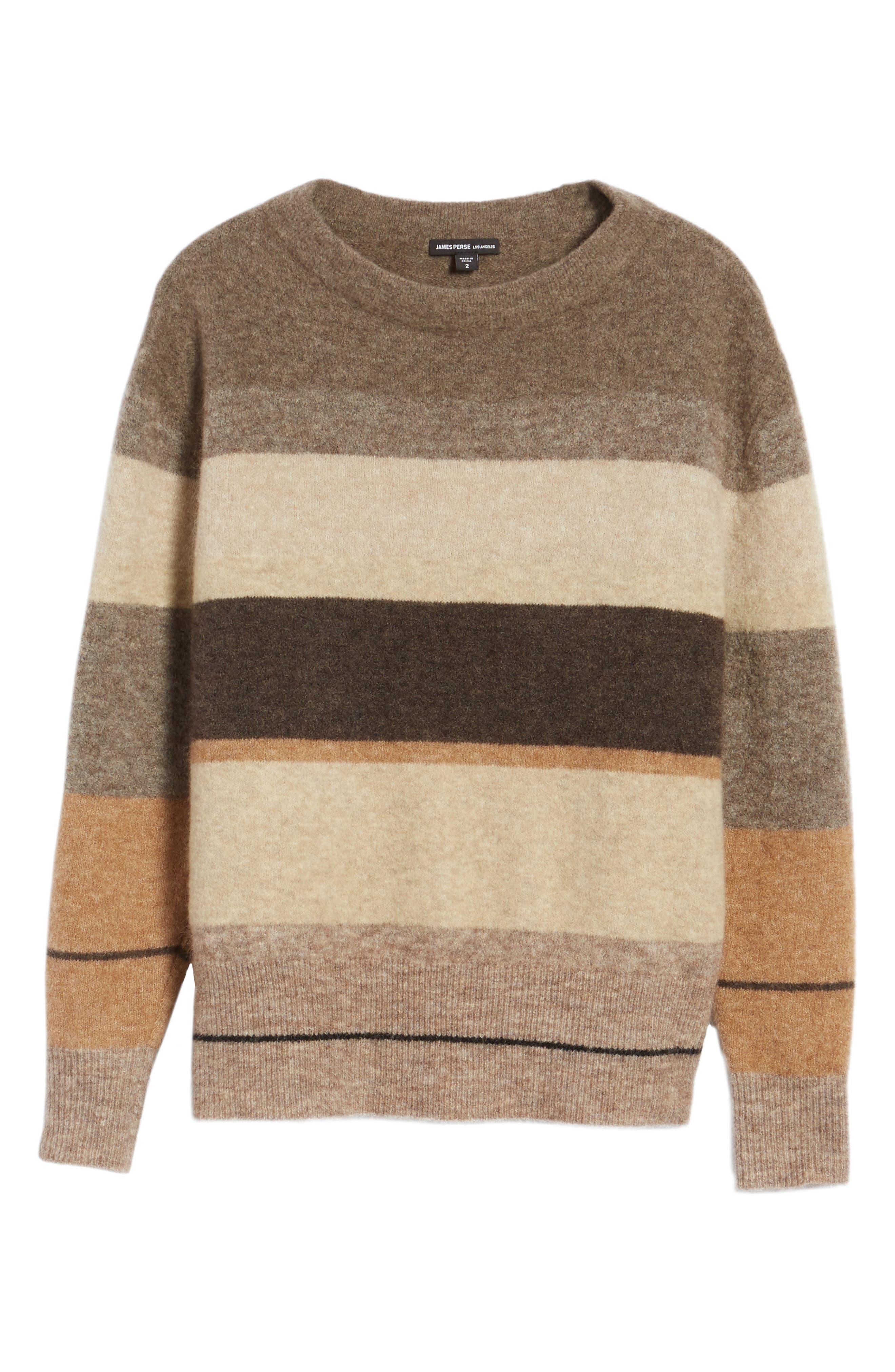 Stripe Sweater,                             Alternate thumbnail 6, color,                             Brown Multi Stripe