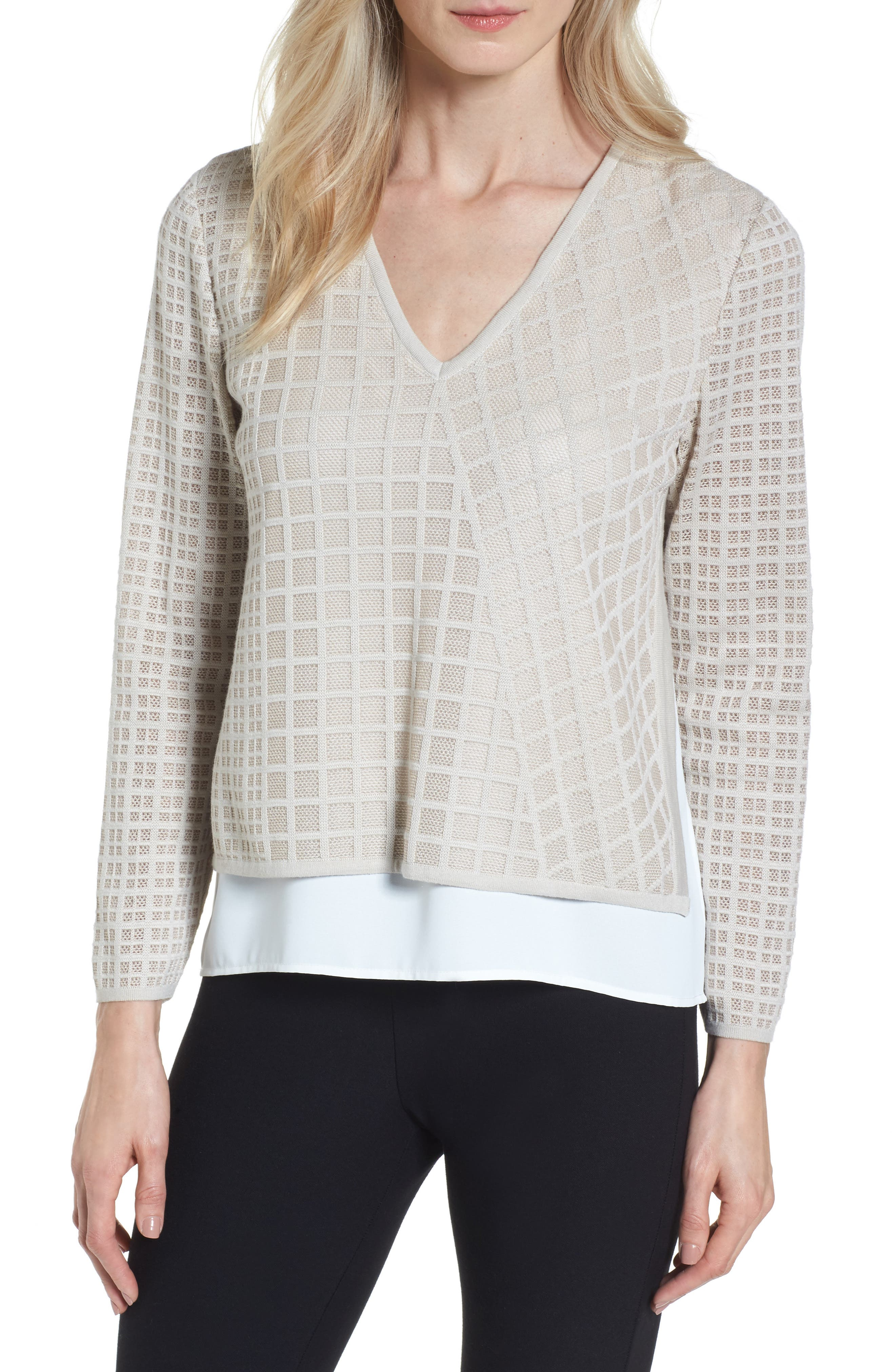 Ming Wang V-Neck Windowpane Sweater
