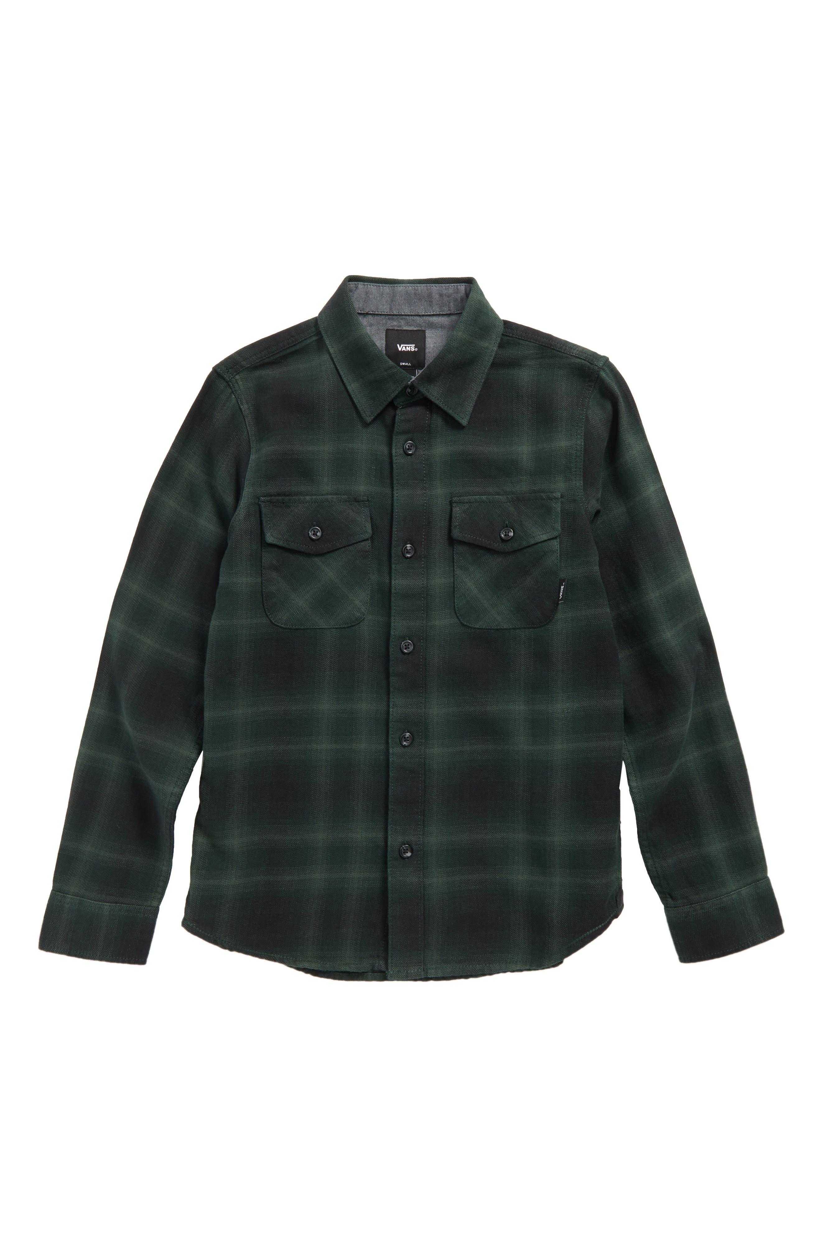 Monterey II Plaid Flannel Shirt,                             Main thumbnail 1, color,                             Vans Scarab