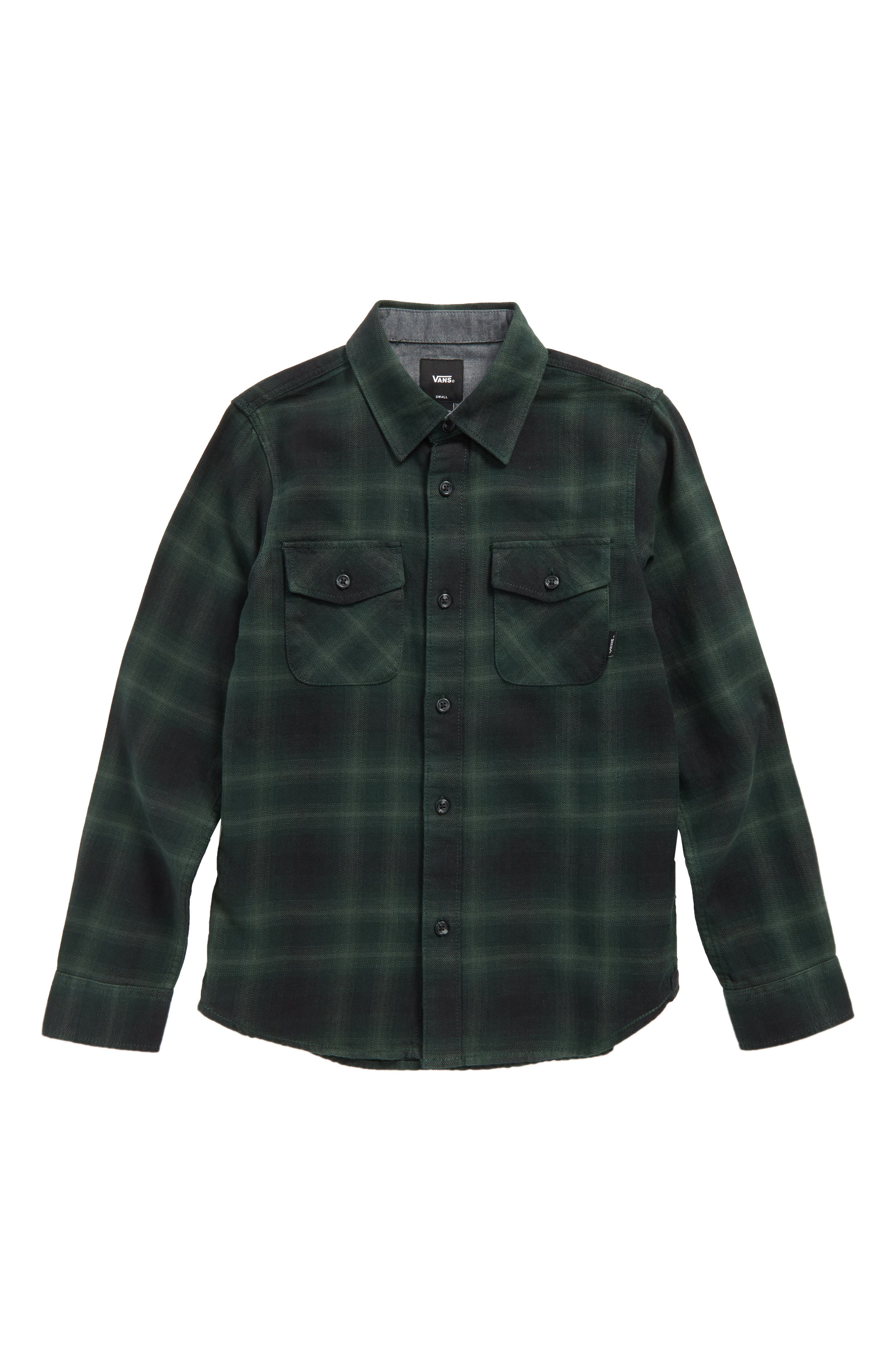 Monterey II Plaid Flannel Shirt,                         Main,                         color, Vans Scarab