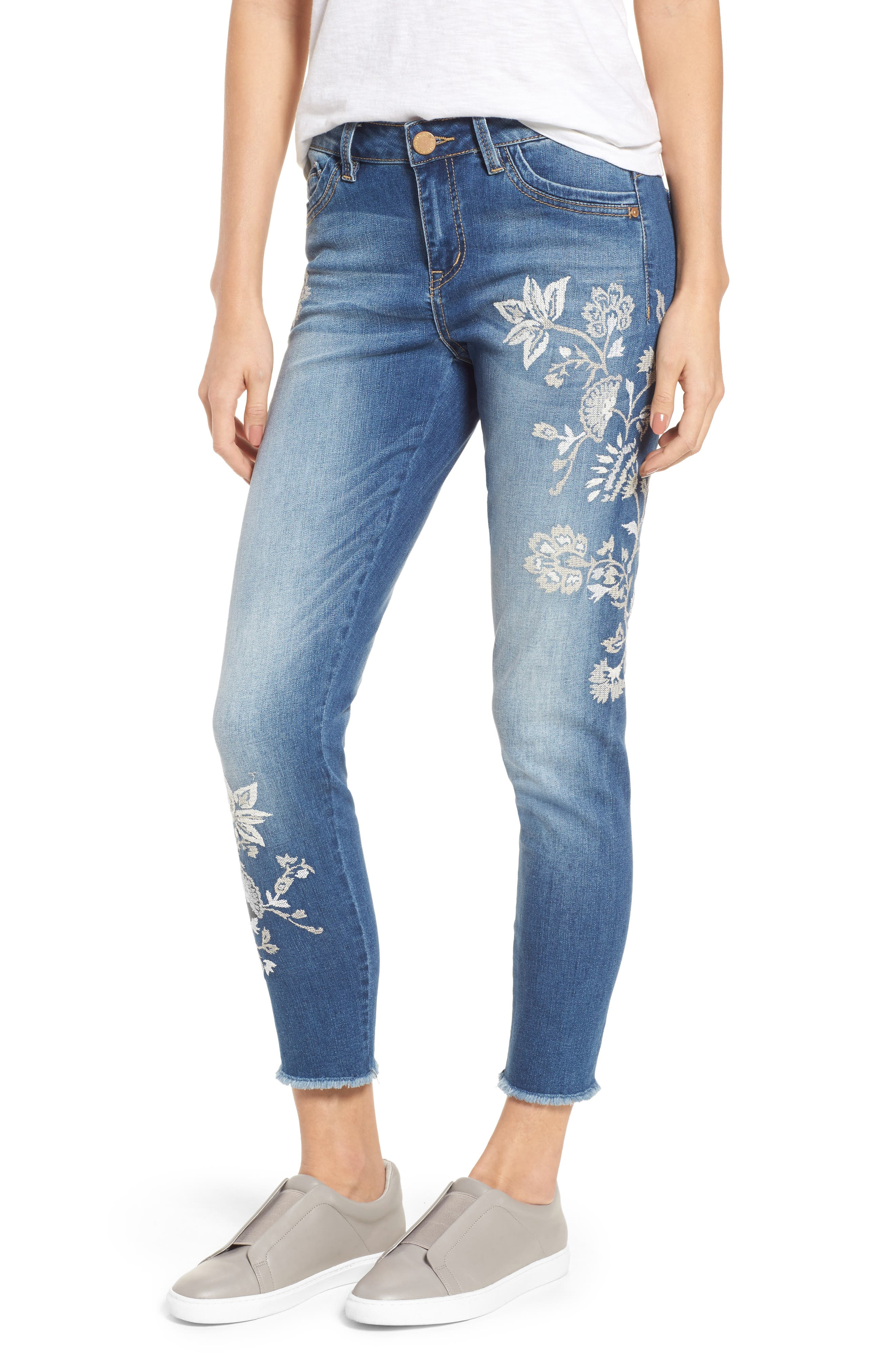 Embroidered Frayed Hem Ankle Jeans,                         Main,                         color, Light Blue / White