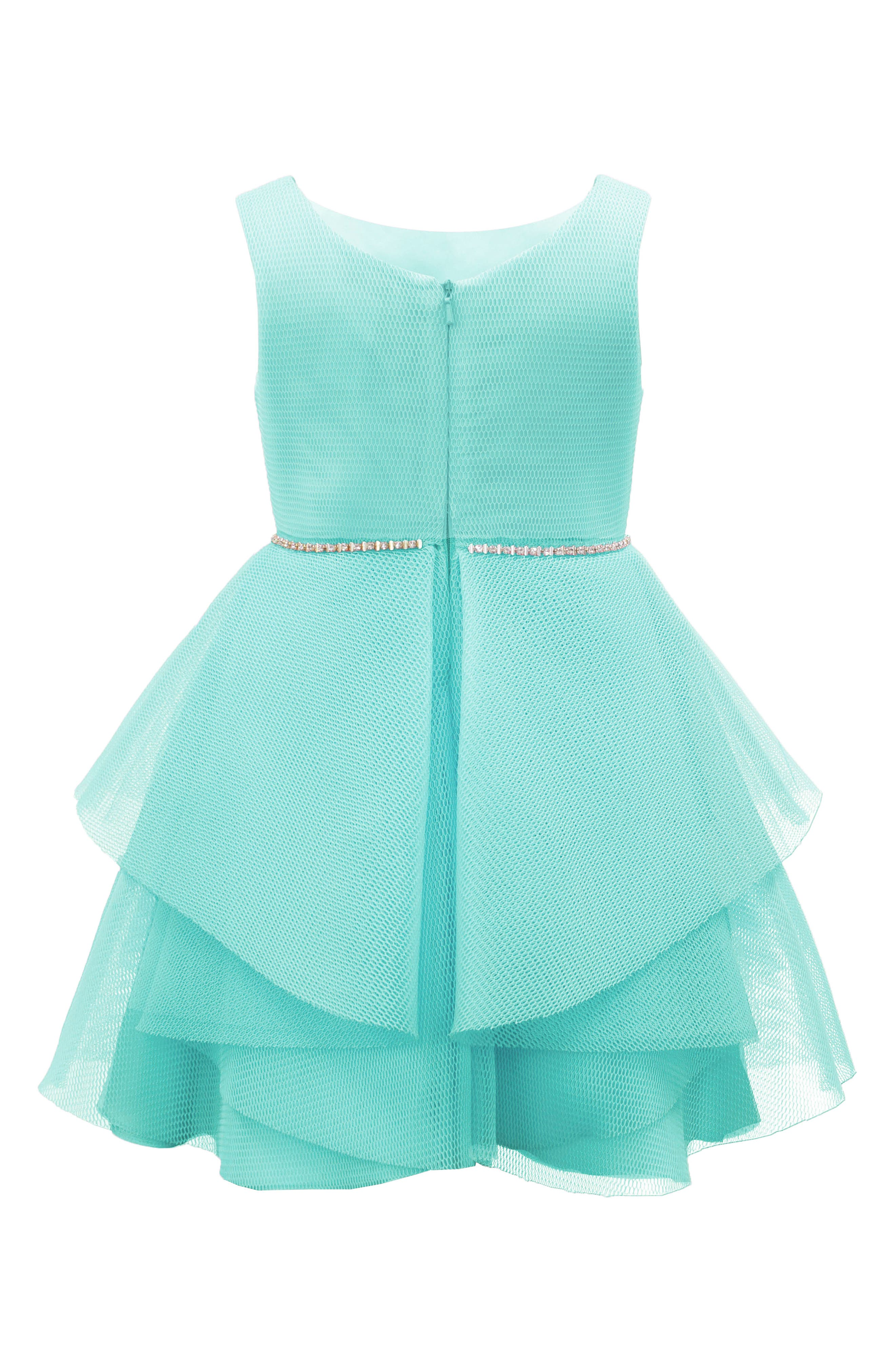 Techno Mesh Fit & Flare Dress,                             Alternate thumbnail 2, color,                             Turquoise