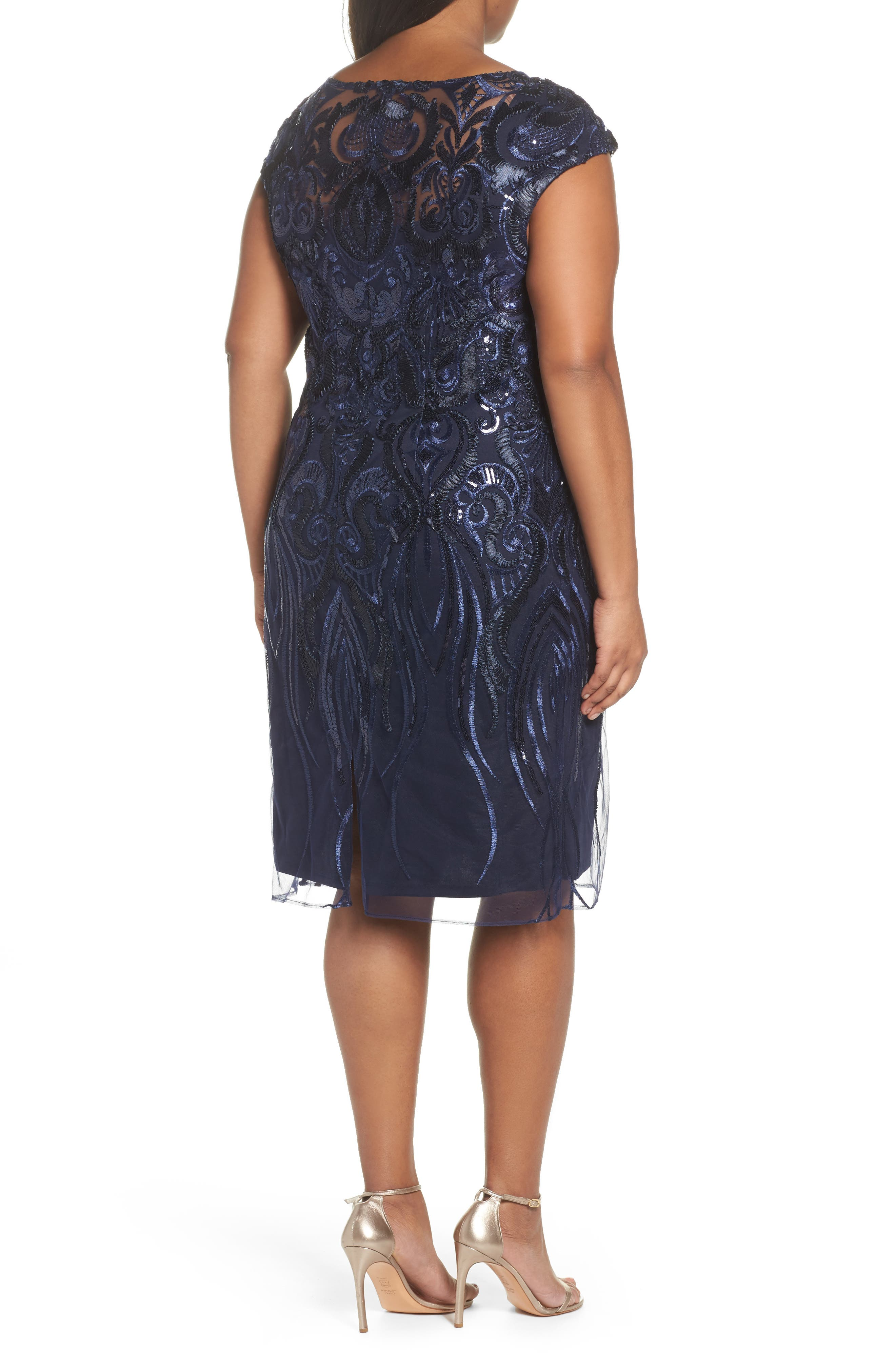 Sequin Embroidered Sheath Dress,                             Alternate thumbnail 2, color,                             Navy