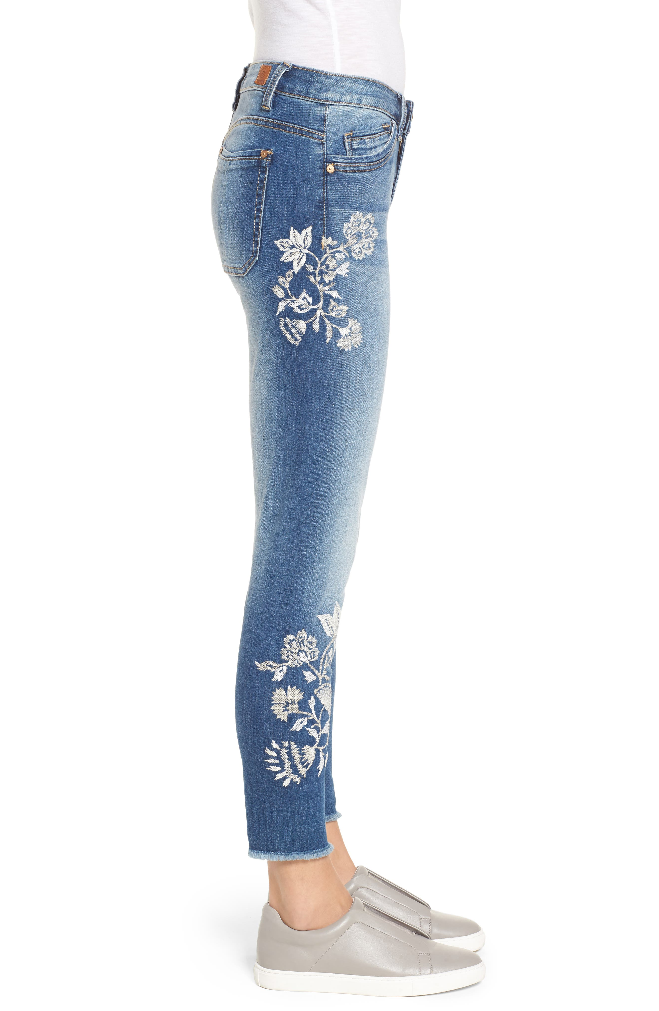 Alternate Image 4  - Wit & Wisdom Embroidered Frayed Hem Ankle Jeans (Nordstrom Exclusive) (Regular & Petite)