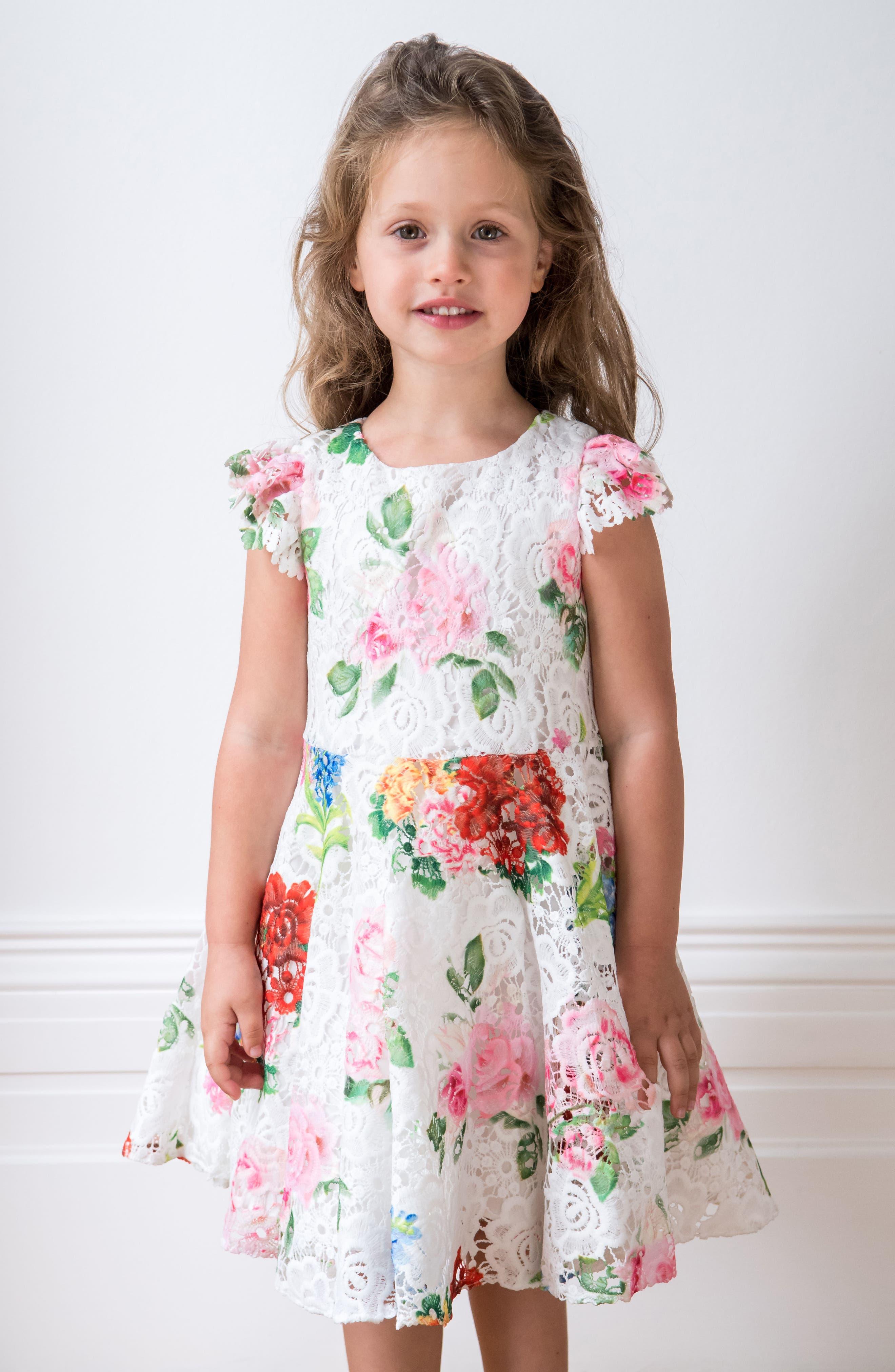 Print Lace Dress,                             Alternate thumbnail 3, color,                             Ivory/ Multi Color