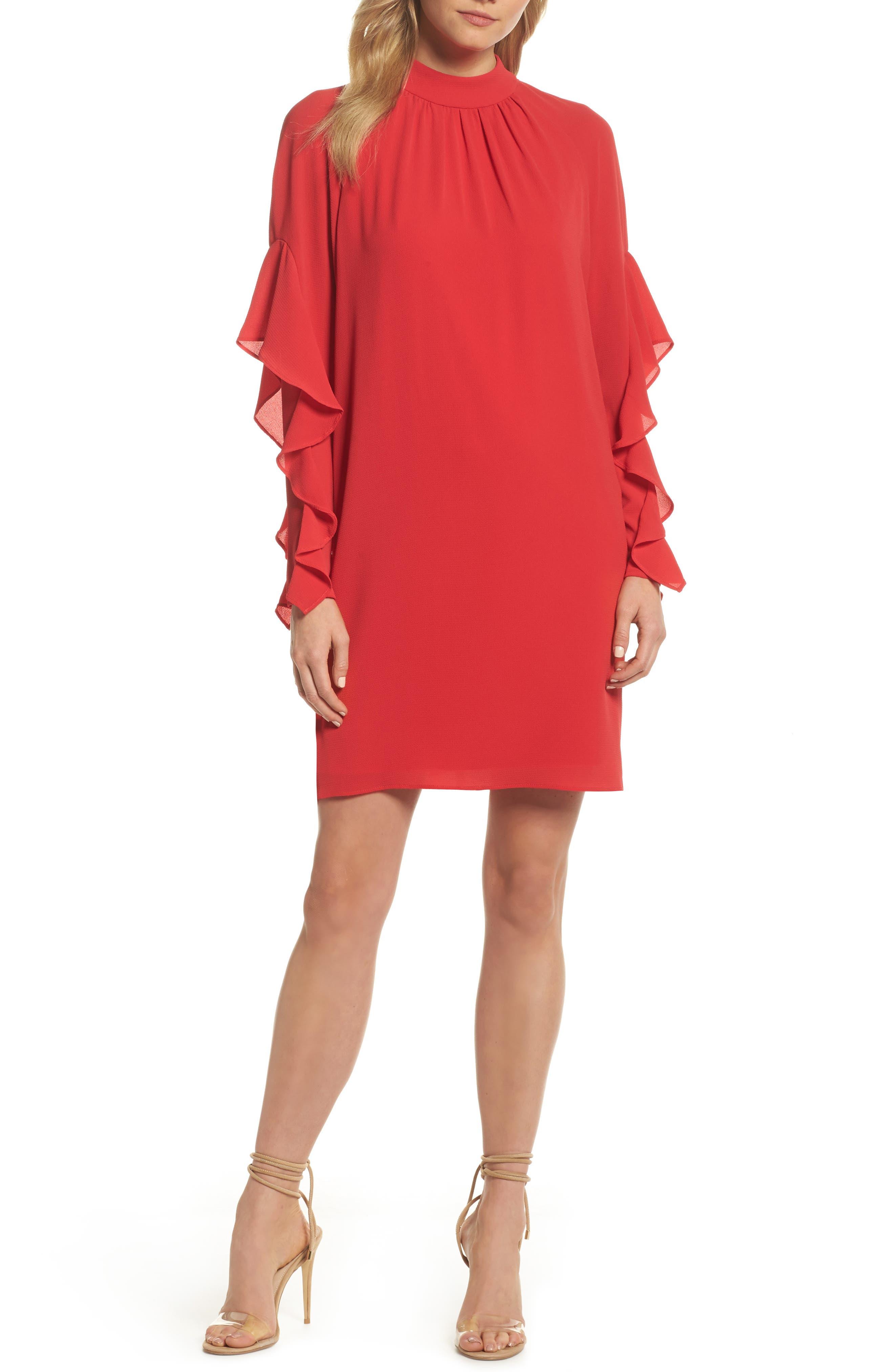 Catalina Ruffle Sleeve Dress,                         Main,                         color, Pomegranate
