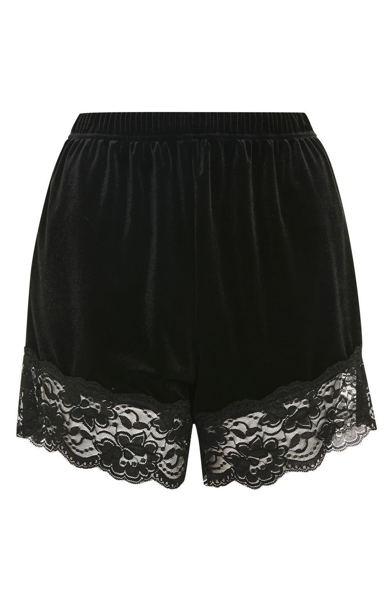 Alternate Image 4  - Topshop Lace Trim Velvet Lounge Shorts