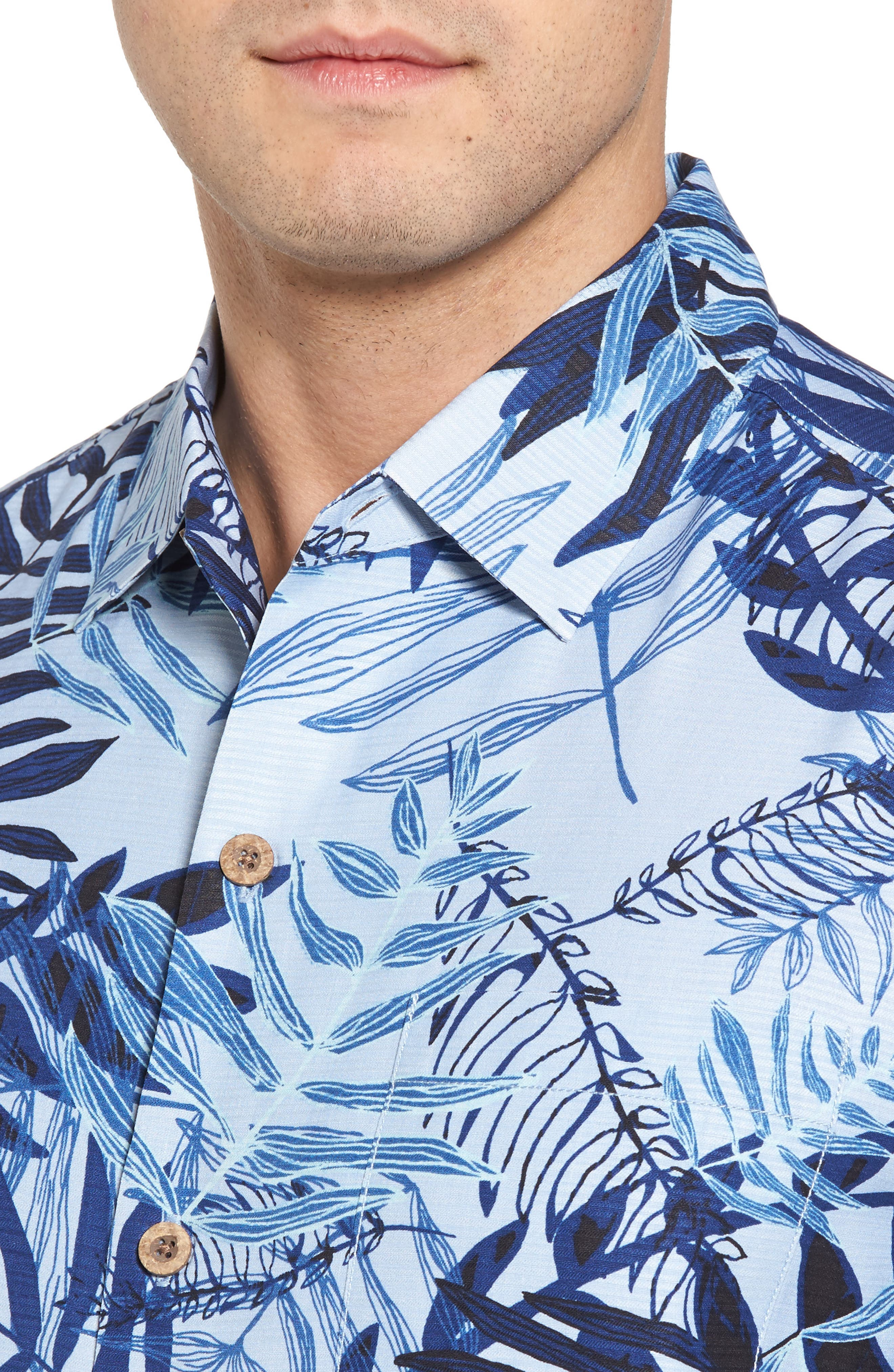 Glade Tropics Regular Fit Silk Sport Shirt,                             Alternate thumbnail 4, color,                             Fresh Air